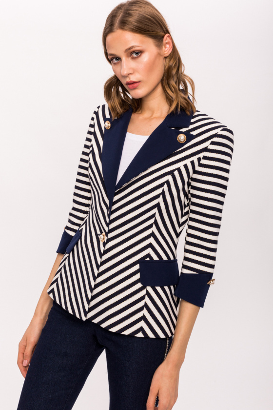 Navy and Ivory Striped Jacket with Pearl Buttons NISSAJCK10594