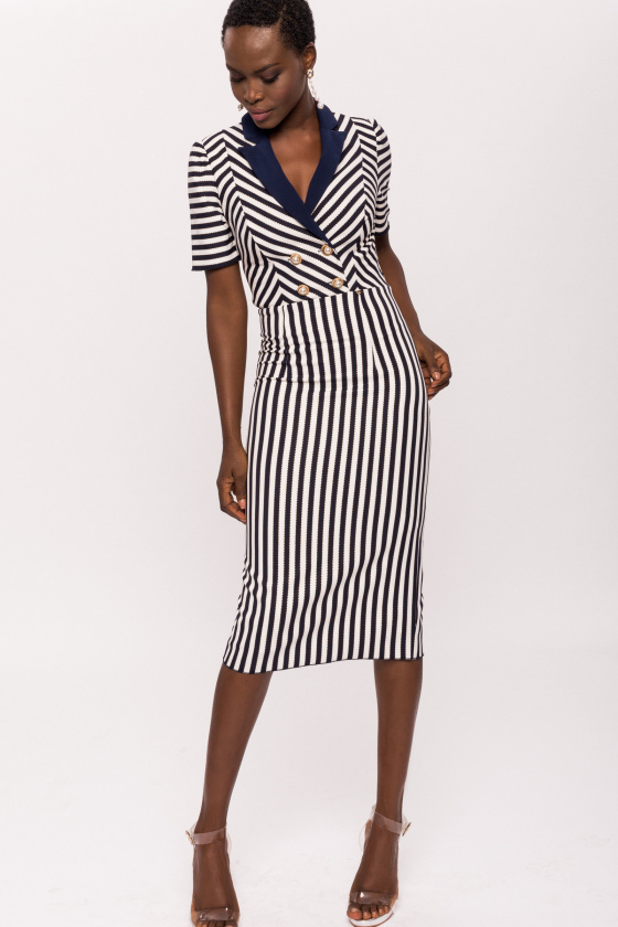 Navy and Ivory Striped Dress with Collar Detail NissaDR10591