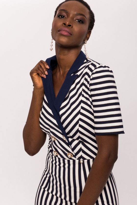 Navy and Ivory Striped Dress with Collar Detail