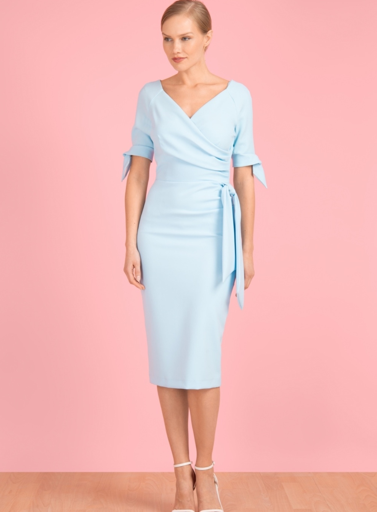 Hourglass Dress with Bows on Sleeves in Pale Blue PDChourglass