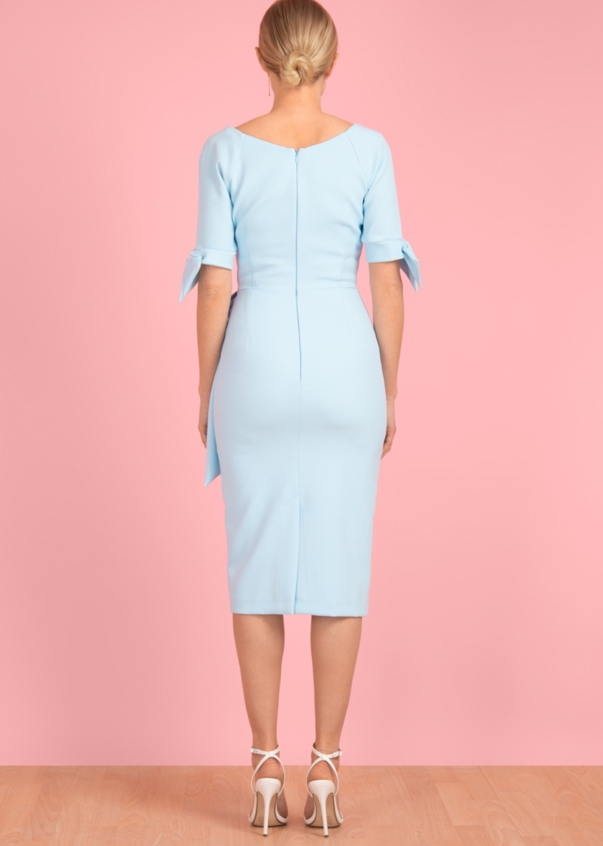 Hourglass Dress with Bows on Sleeves in Pale Blue