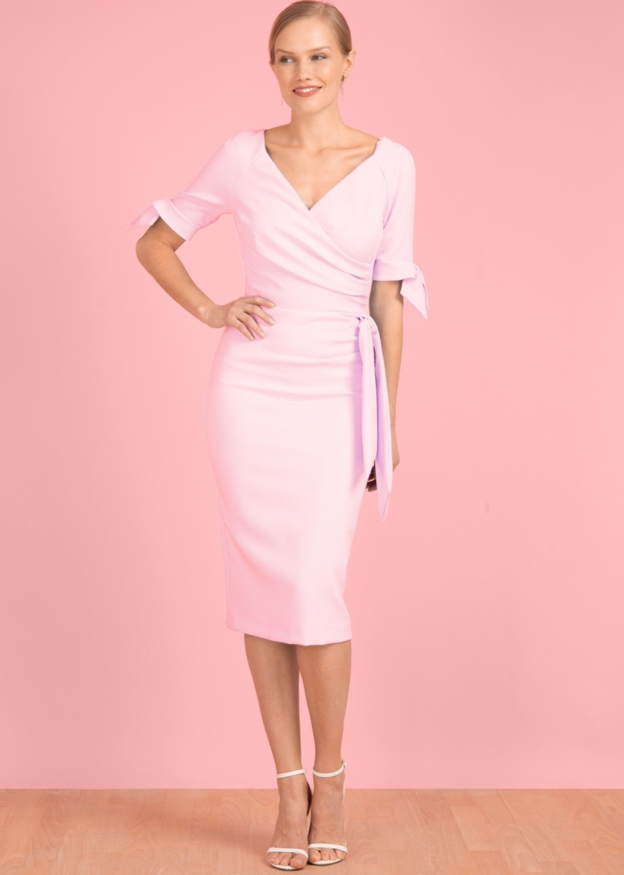 Hourglass Dress with Bows on Sleeves in Pale Pink PDCHourglass
