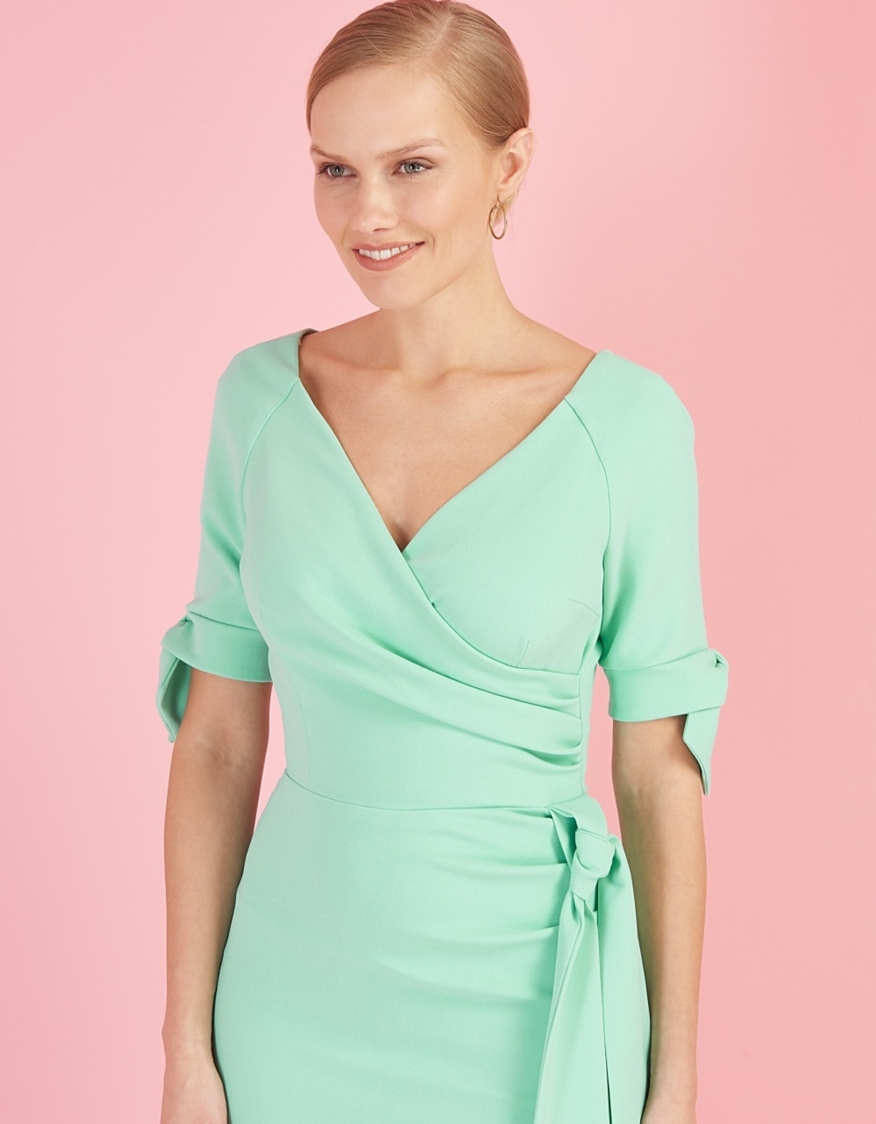 Hourglass Dress with Bows on Sleeves in Delicate Mint