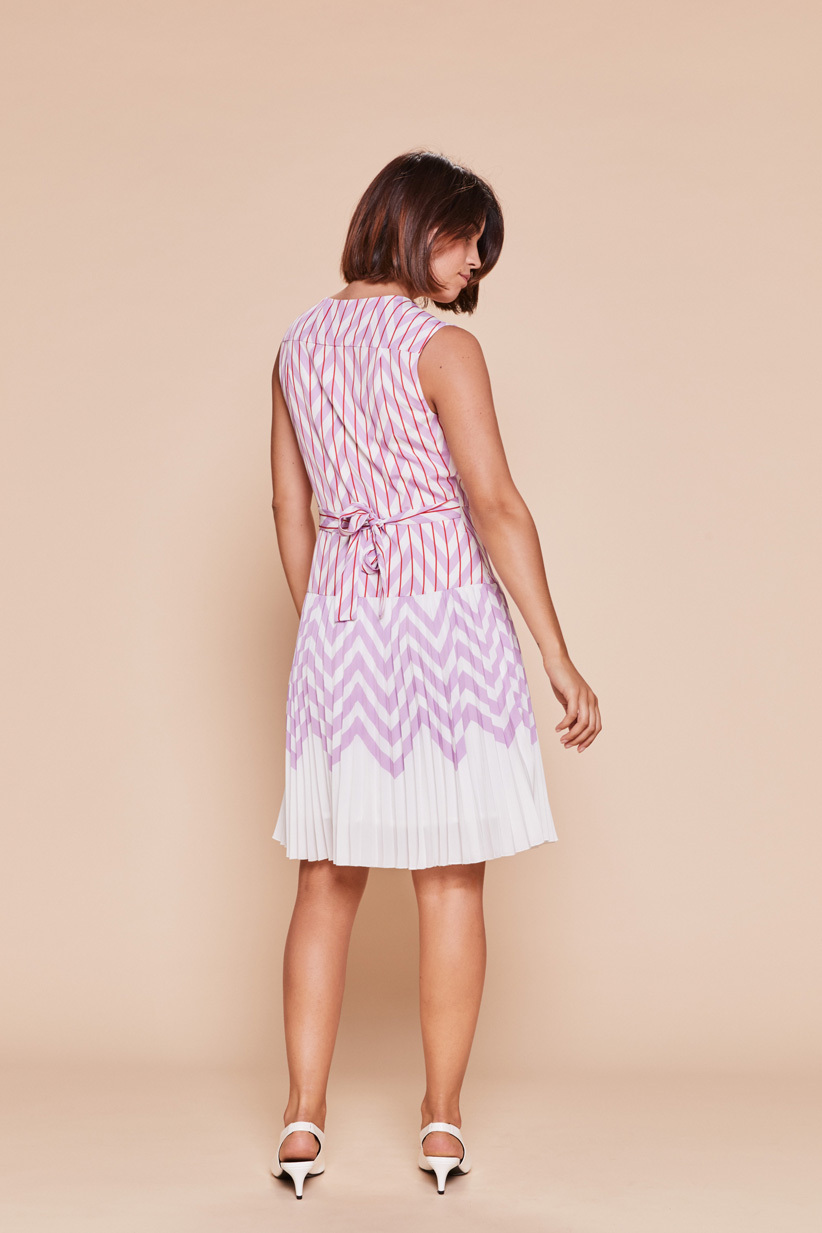 Enclin Dress in Lilac with Red Skirt