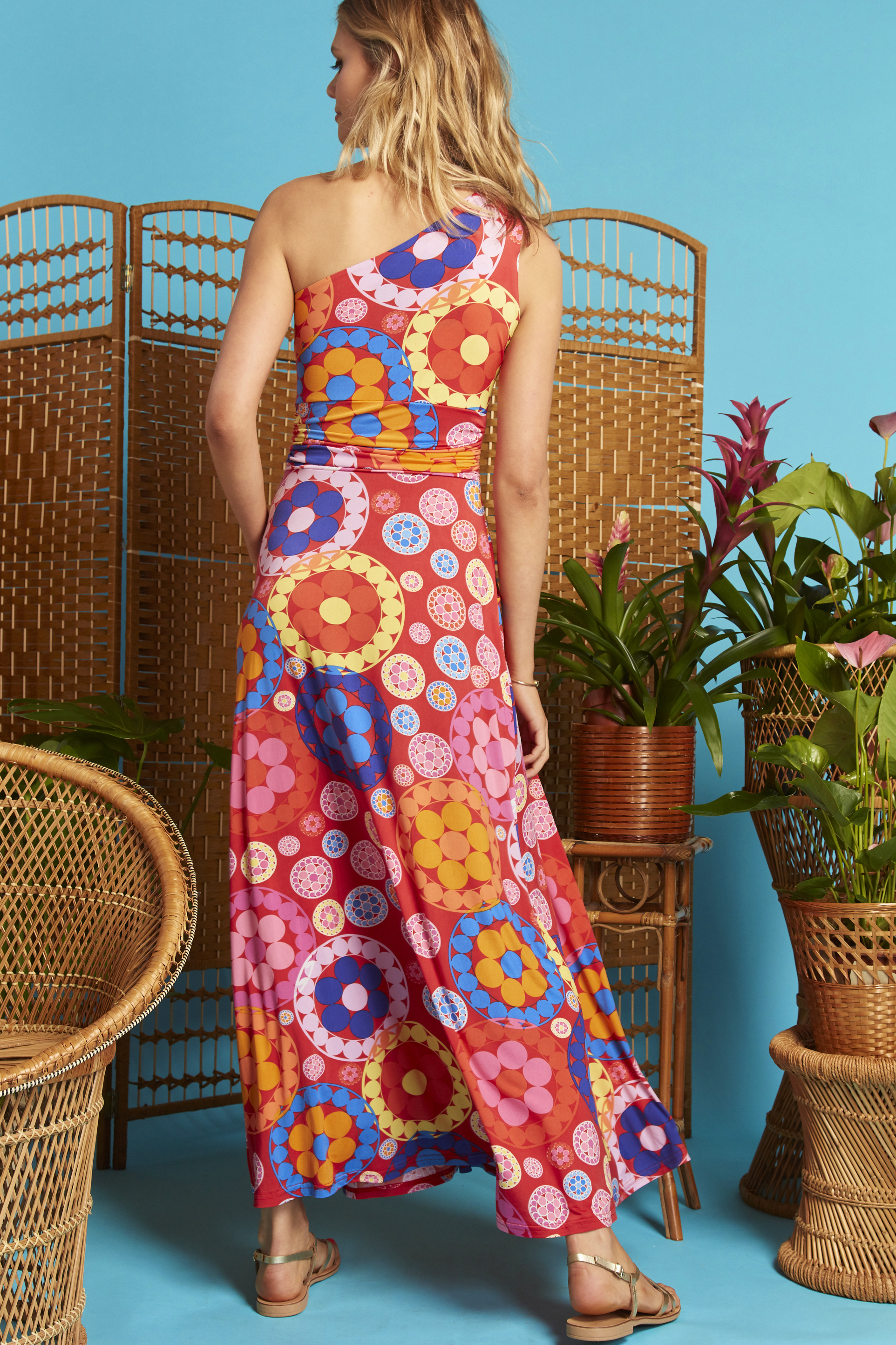 Rosa One Shoulder Dress in Daisy Print