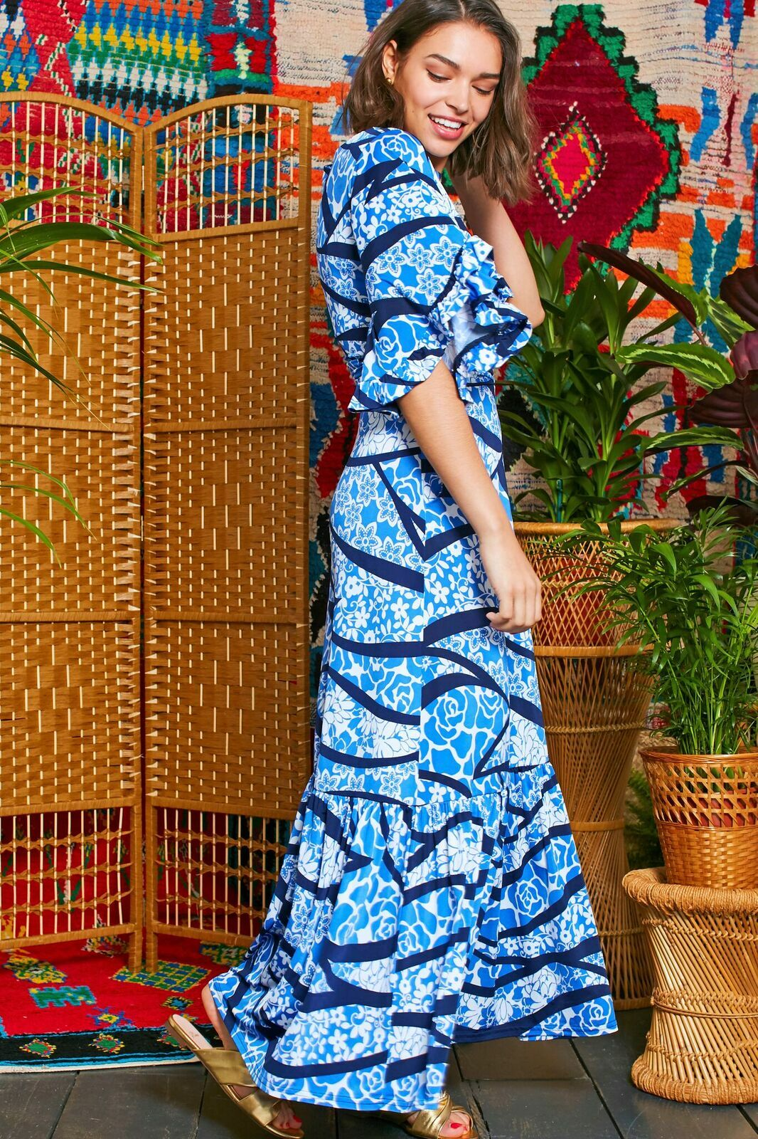 Gabriella Dress in Abstract Blue Flower Print