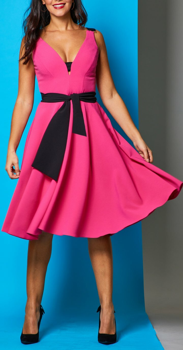 Rayley Dress in Fuchsia with Black Belt MELLARISRAyLEY