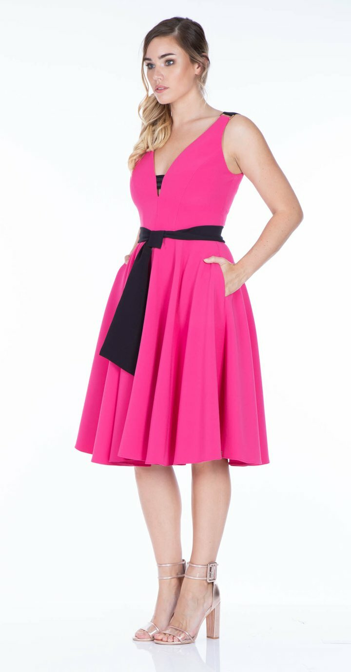 Rayley Dress in Fuchsia with Black Belt