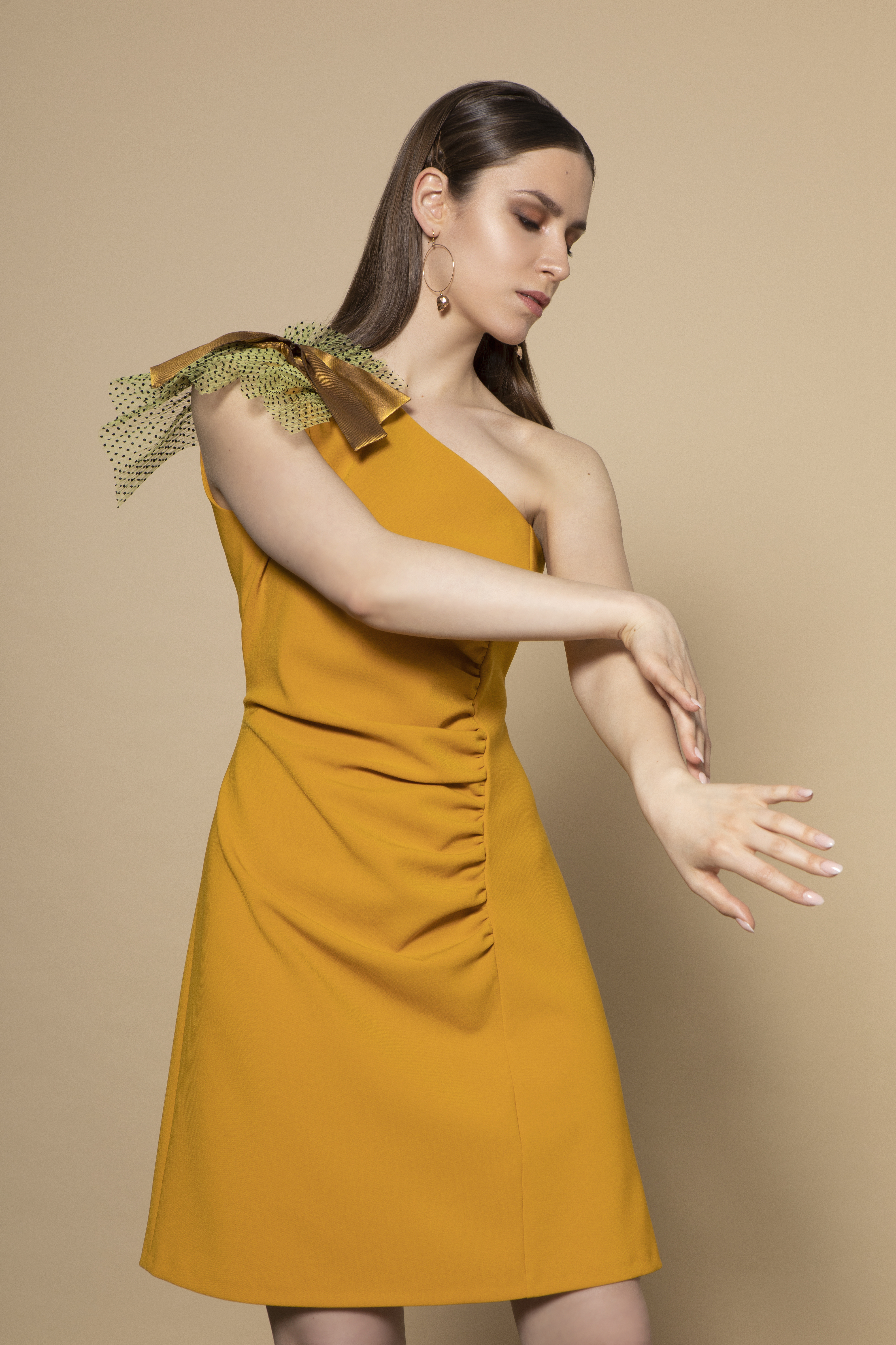 Lexi Dress in Mustard 00029