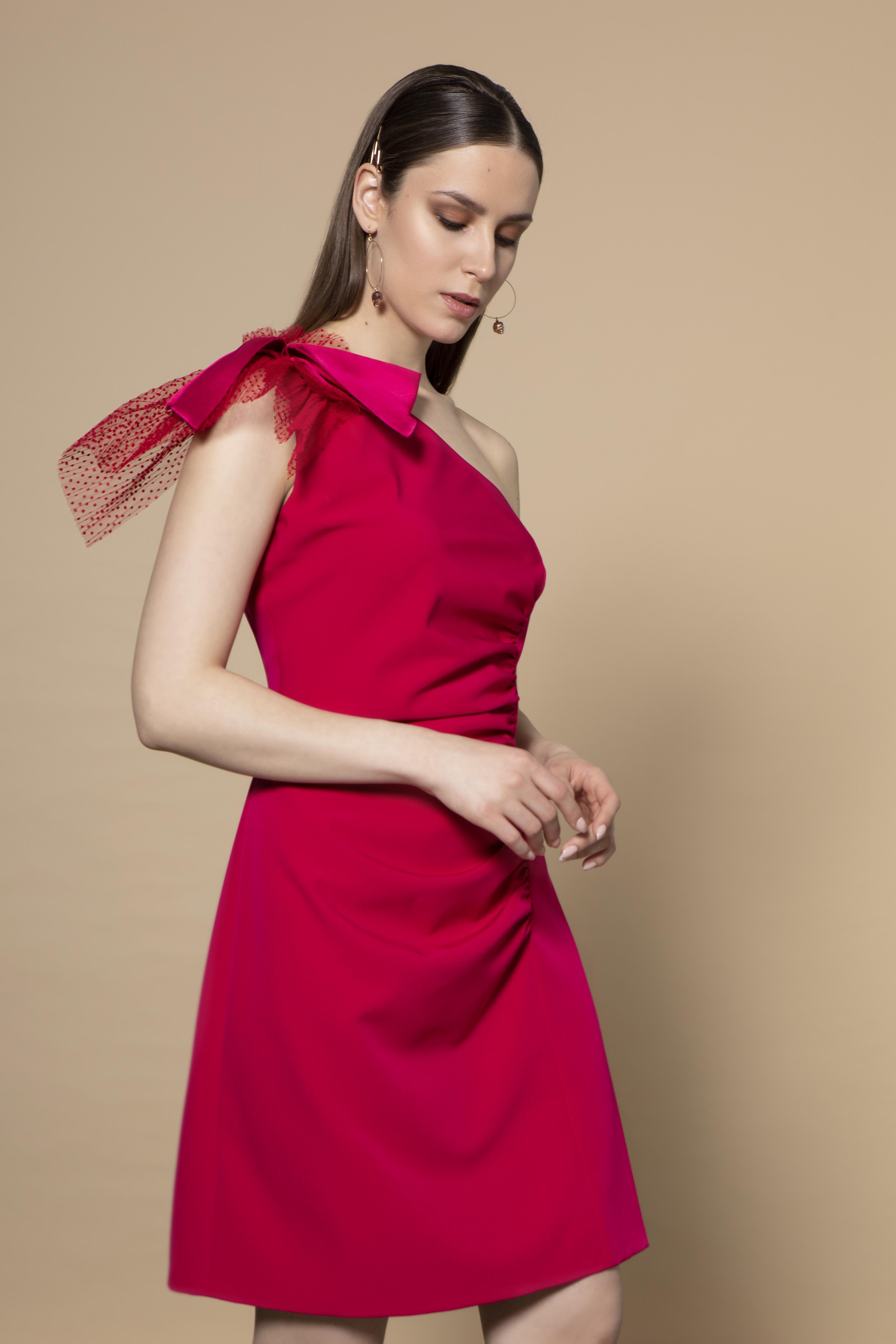 Lexi Dress in Pink with Shoulder Detail CKSISLEXIPINK