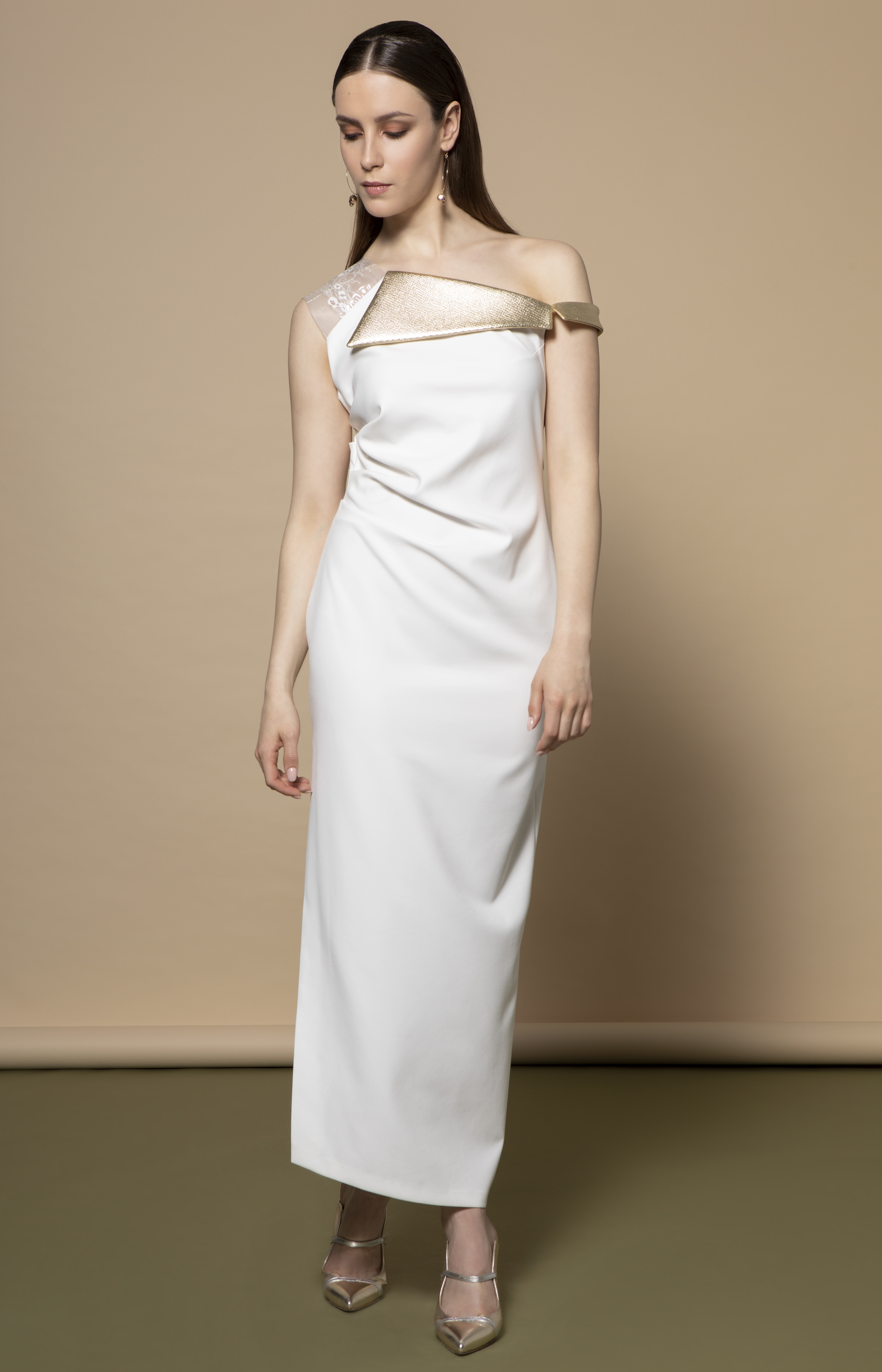 Roselle Dress in Ivory with Gold Trims