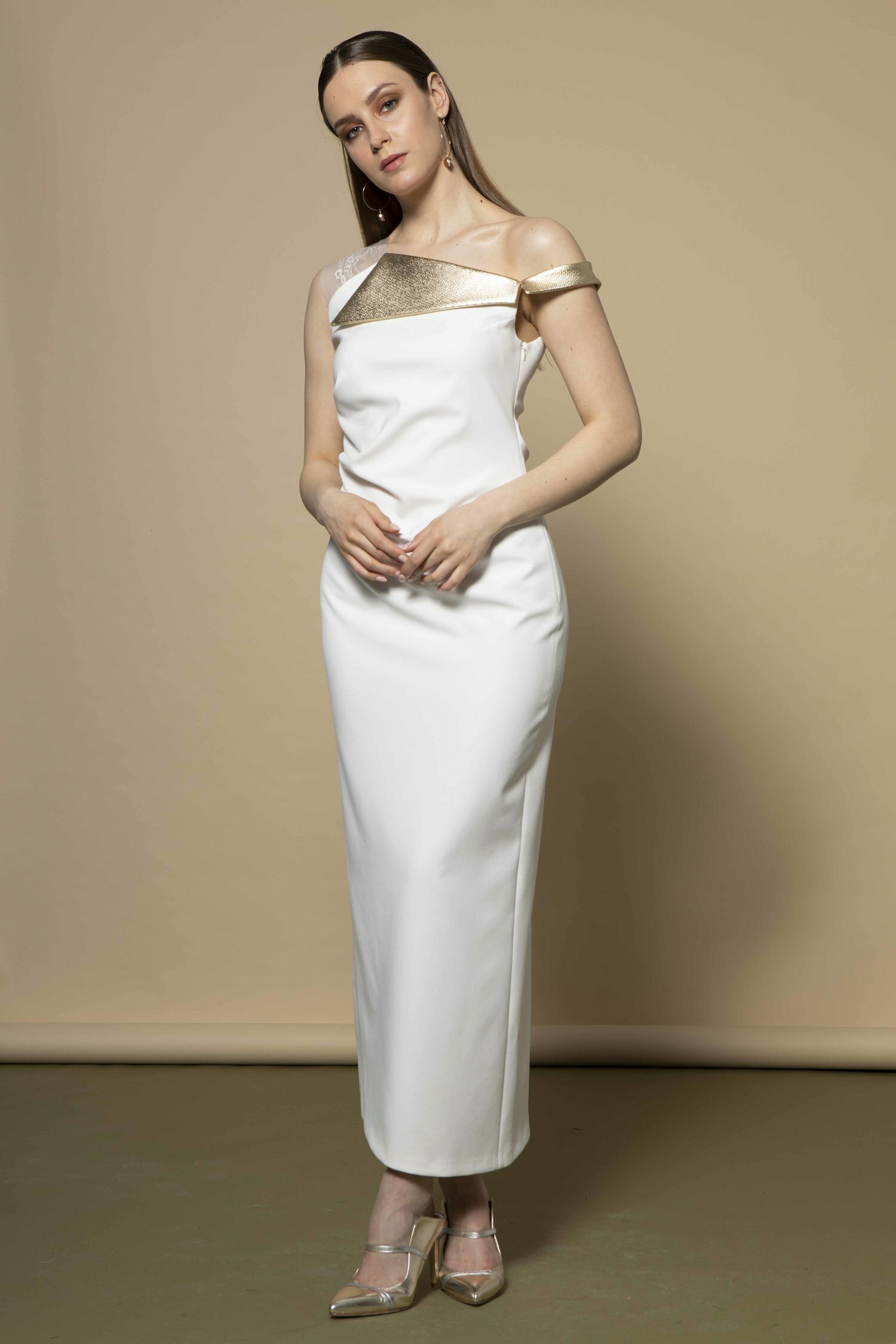 Roselle Dress in Ivory with Gold Trims CKSISROSELLEIVORY