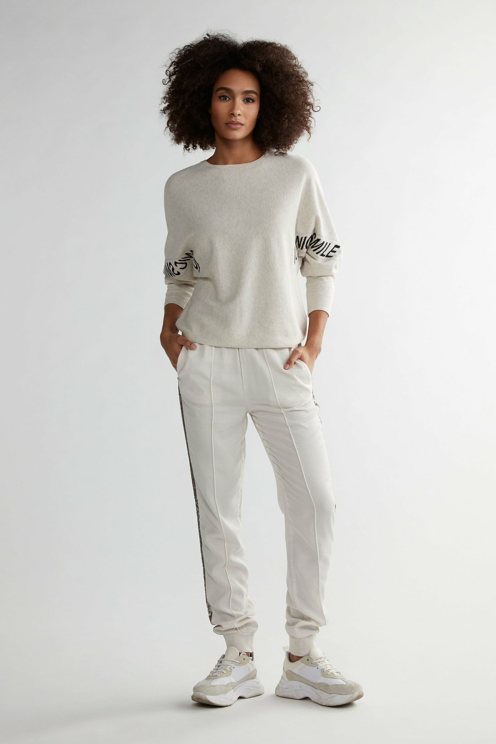 Lyocell Jogger With Glitter Stripe