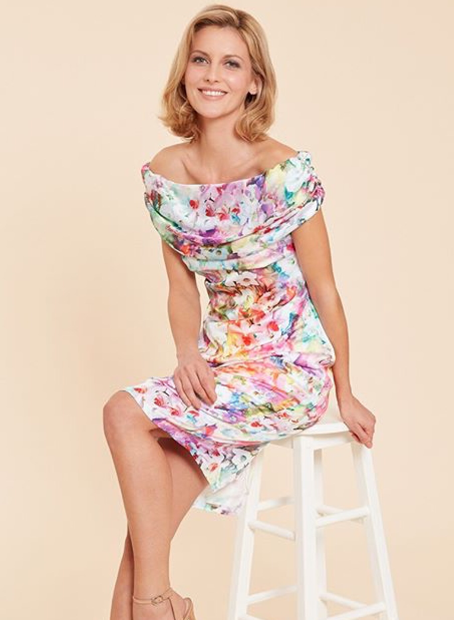 Floral Dress with Draped Roll Collar Front GINABDR1004