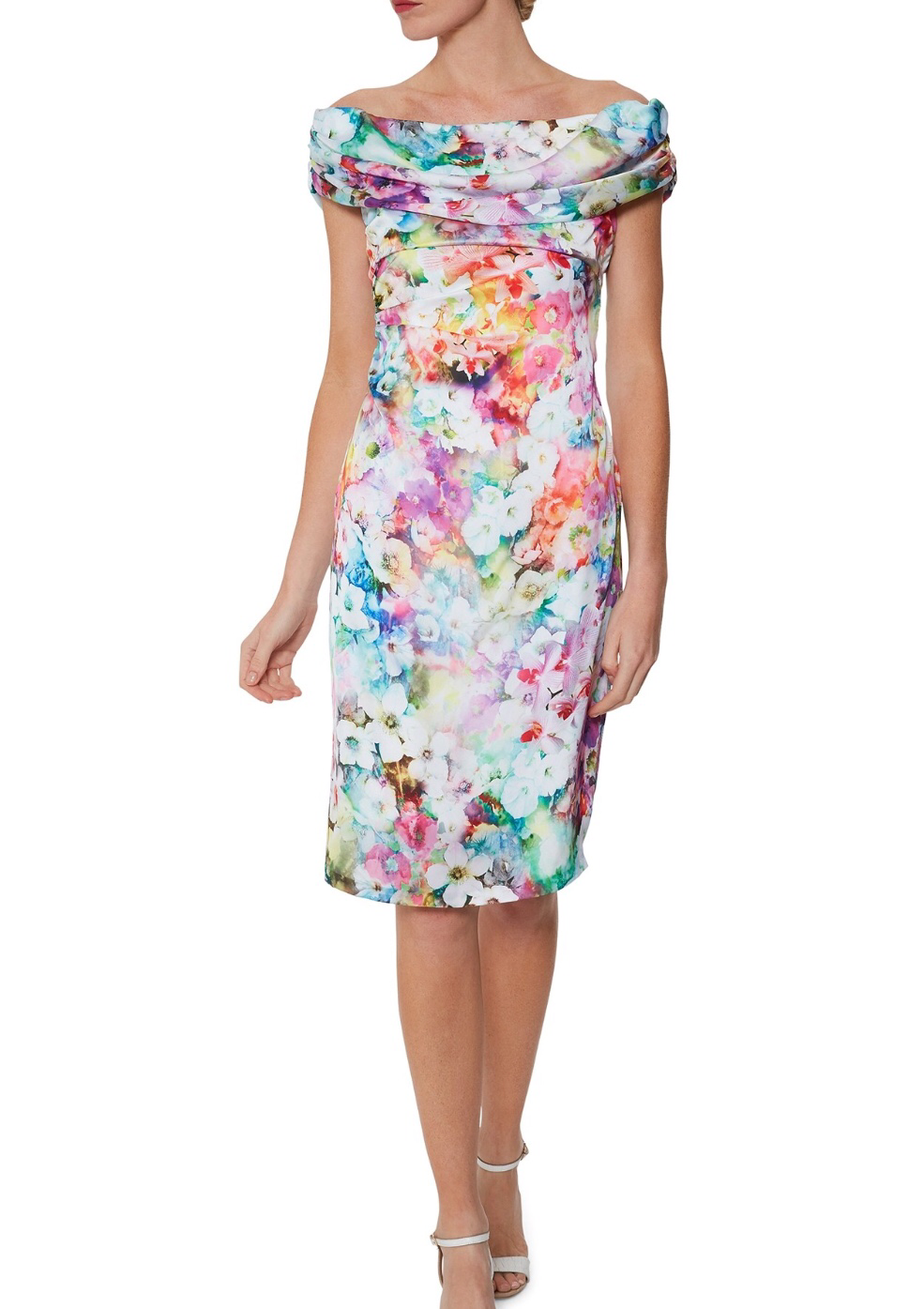 Floral Dress with Draped Roll Collar Front
