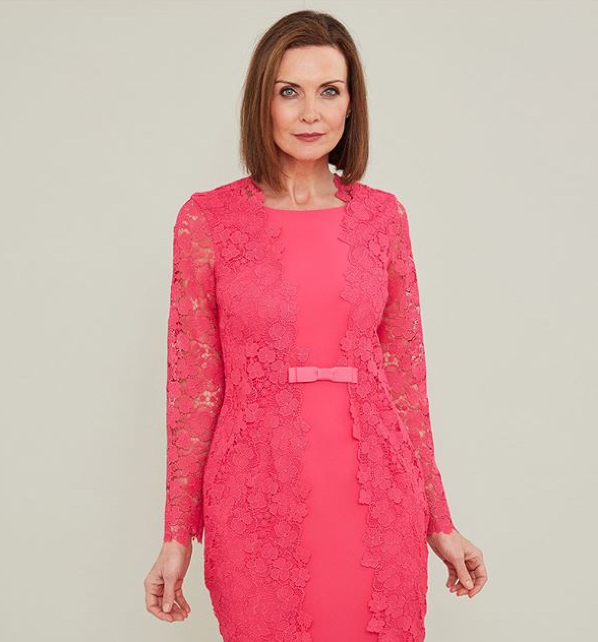 Dress with Lace Overlay Sleeves and bow detail at the front