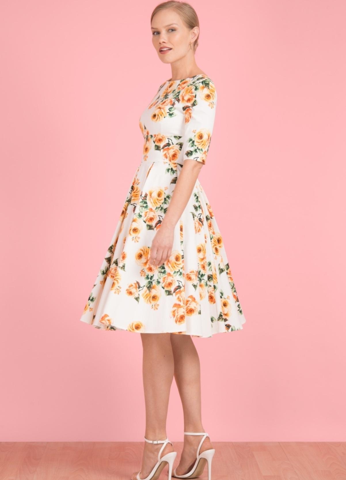 Hepburn Swing Dress in Vintage Rose PRETTYDRCODRHEPBURN