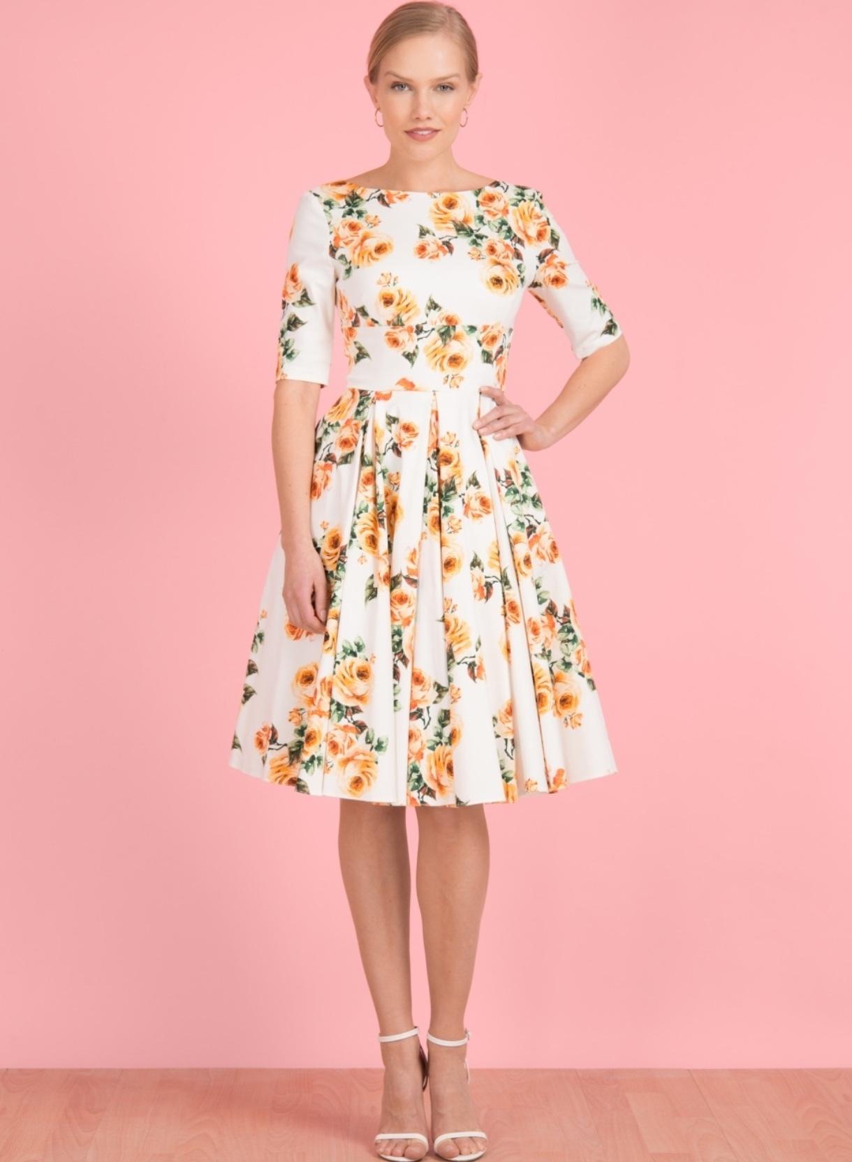 Hepburn Swing Dress in Vintage Rose
