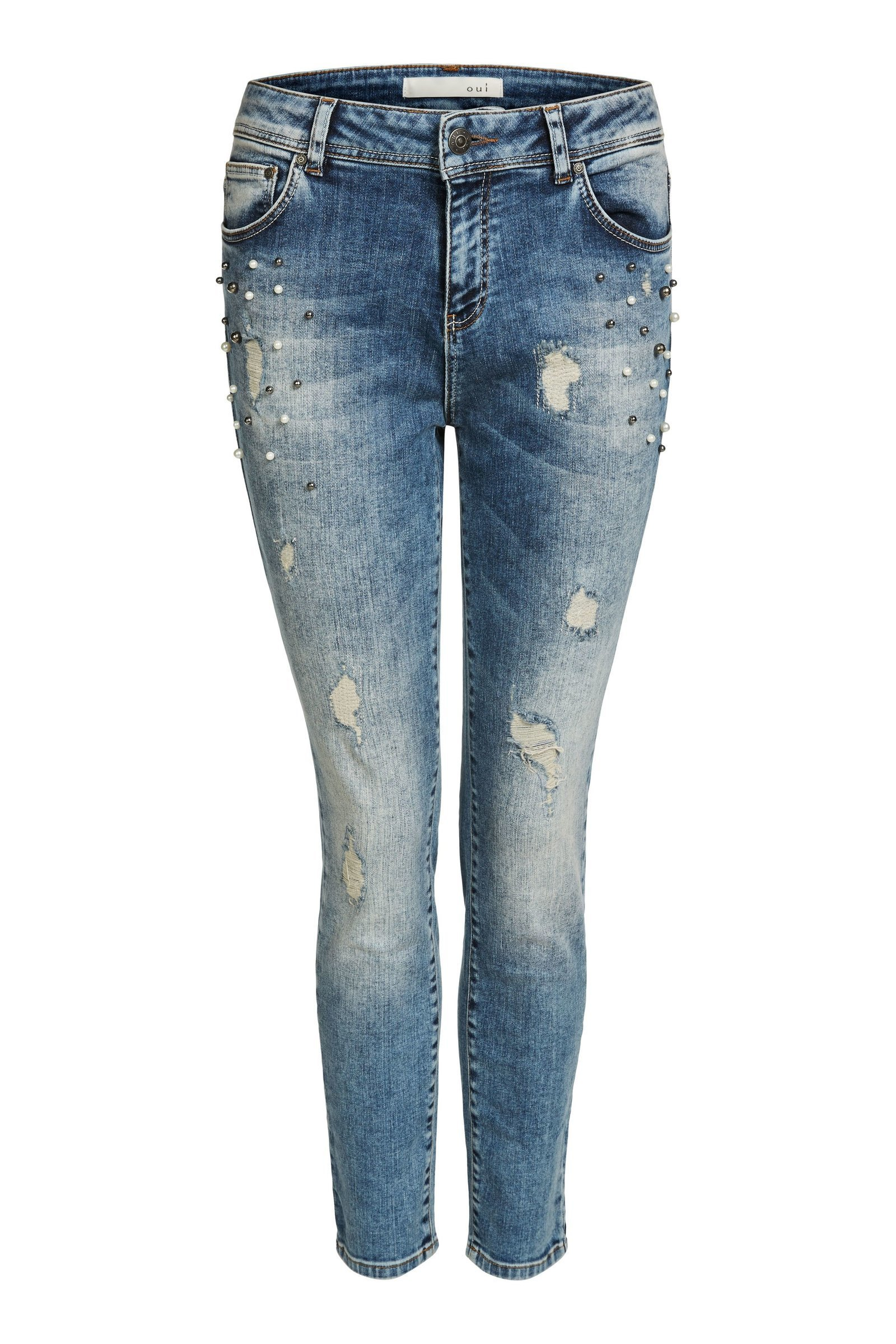 Embellished Denim Slim Fit Jeans OU62706