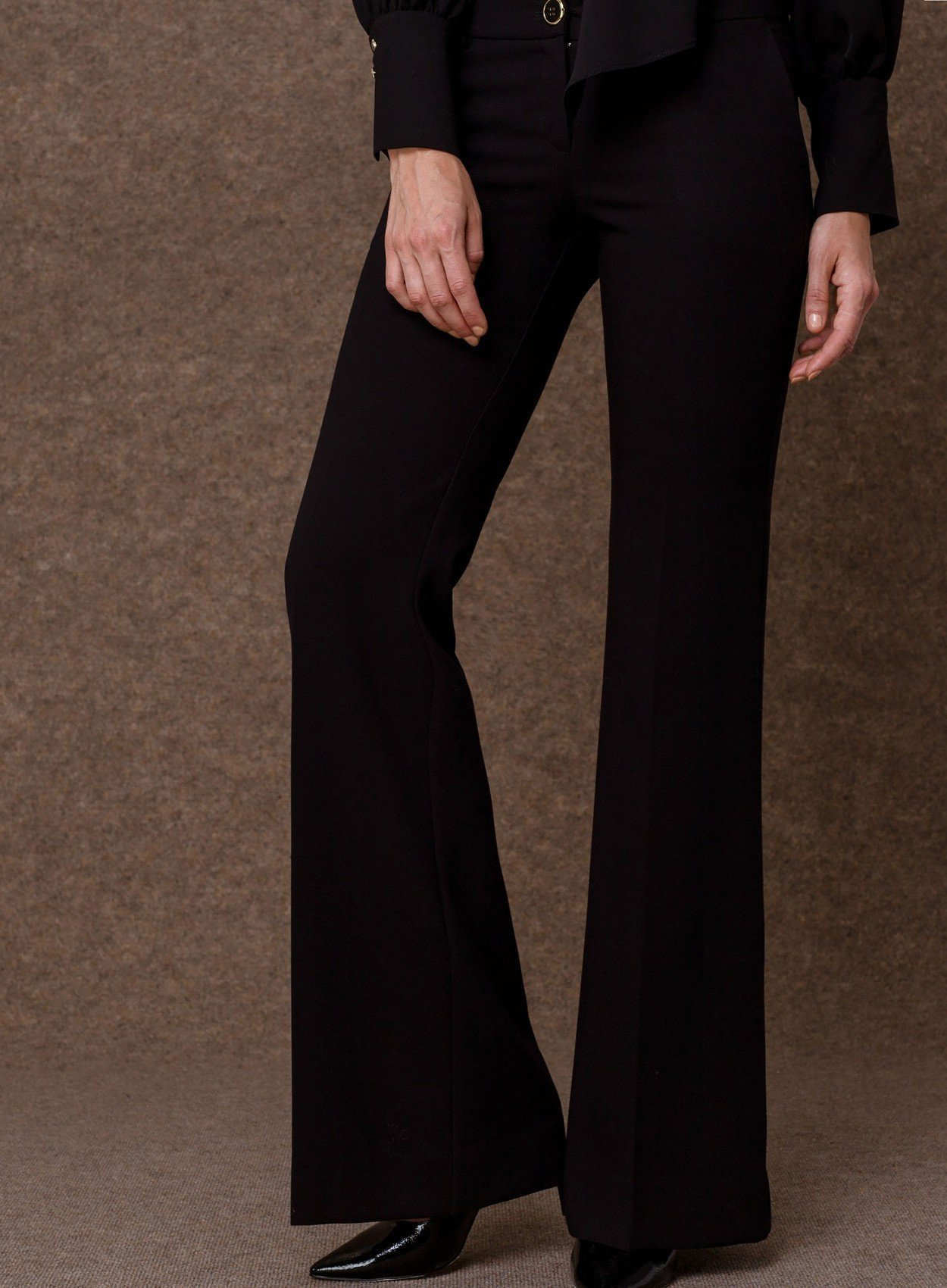 Crepe Wide Leg Trousers Black