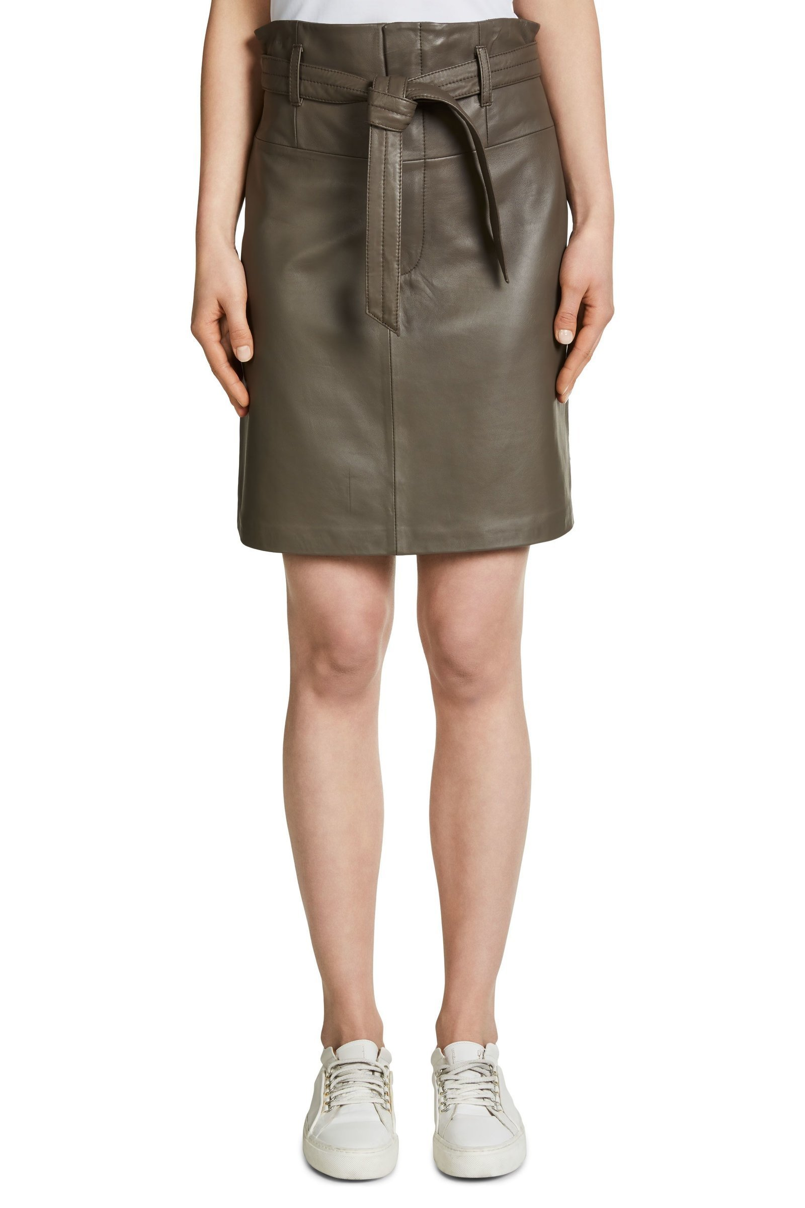 Leather Skirt in biscuit colour