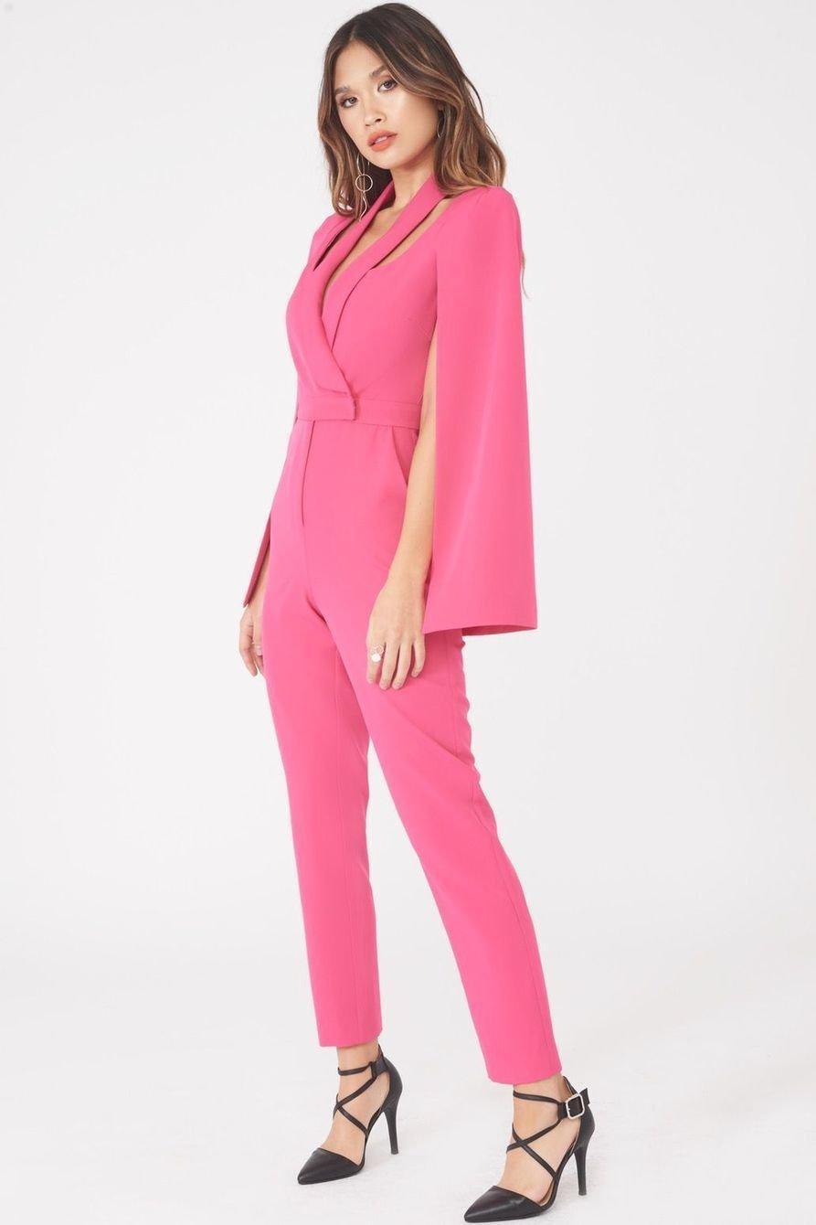 Cape Blazer Jumpsuit Pink