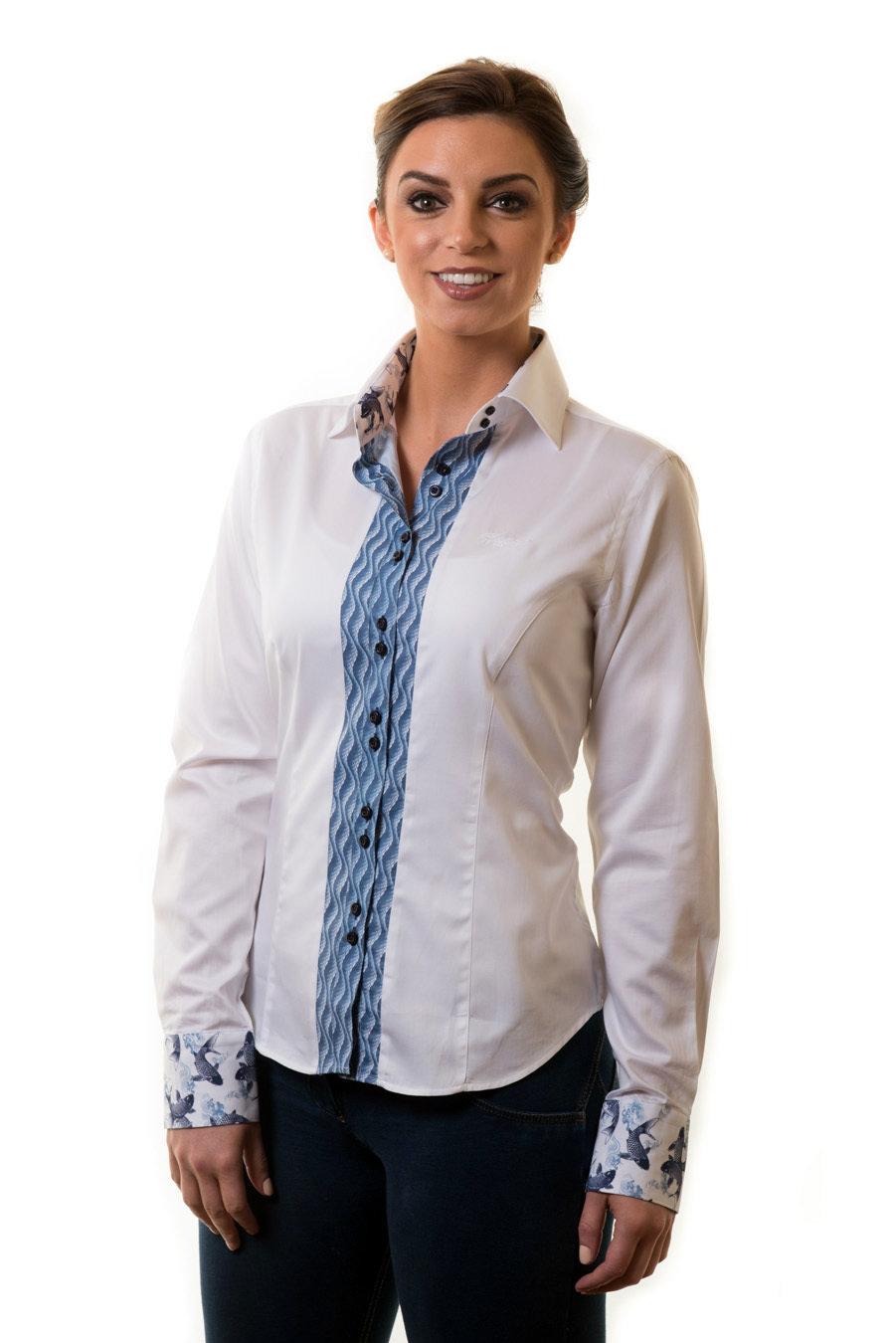 White Shirt Blue Detail