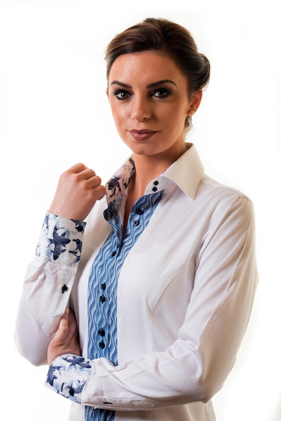 White Shirt Blue Detail HPTOWHITEBLUE