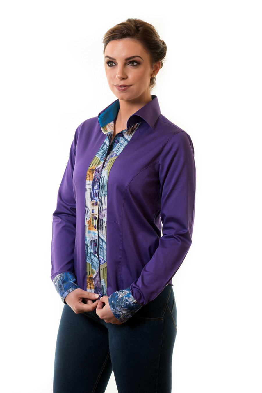 Purple Shirt with Cuff Detail