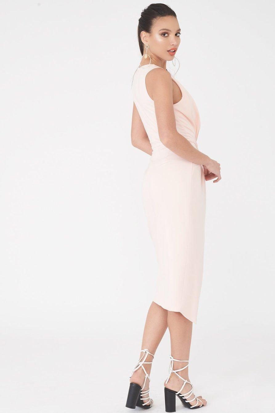 Asymmetrical Wrap Dress Blush Pink