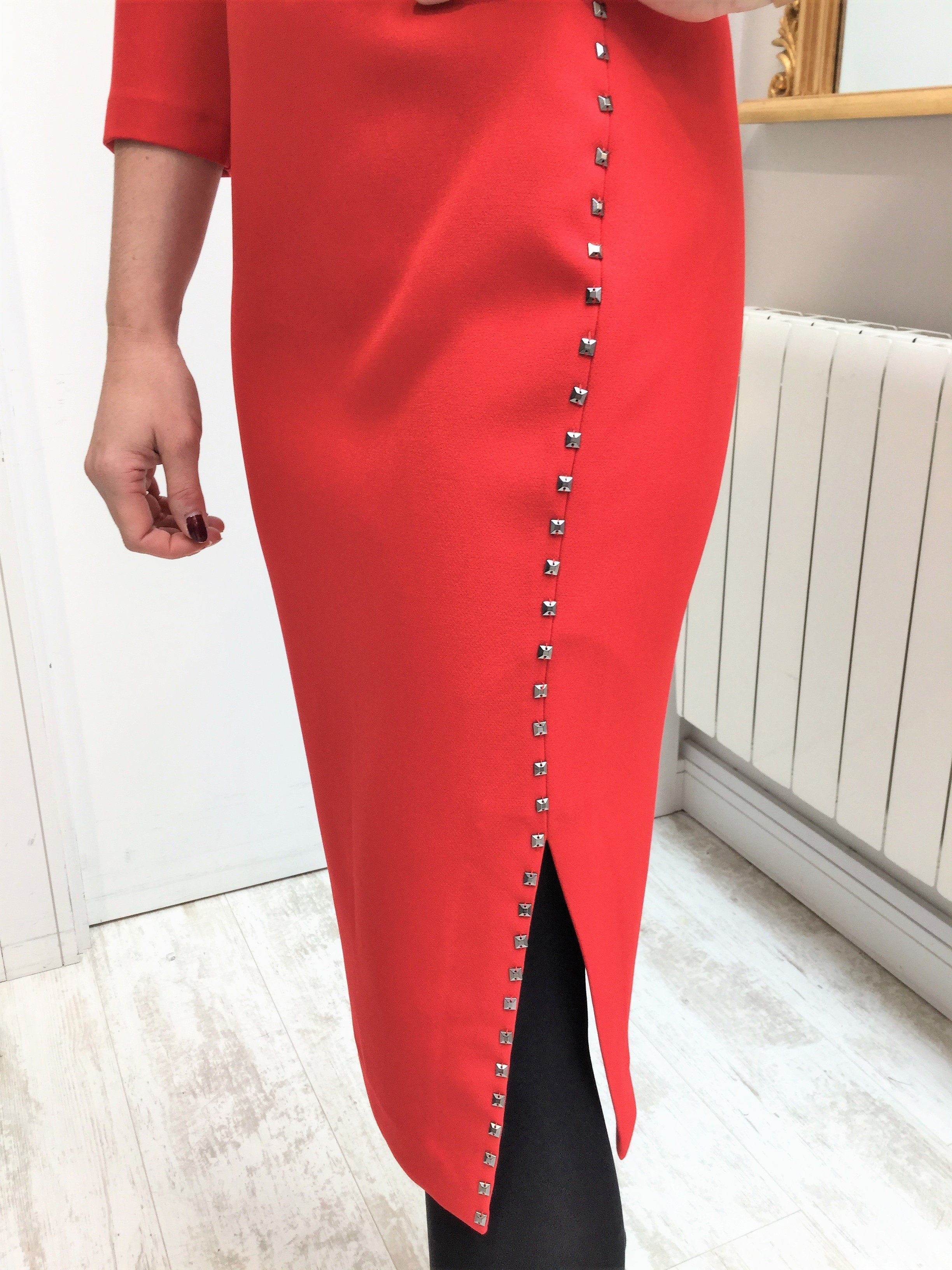 Red Dress with Pewter Studs