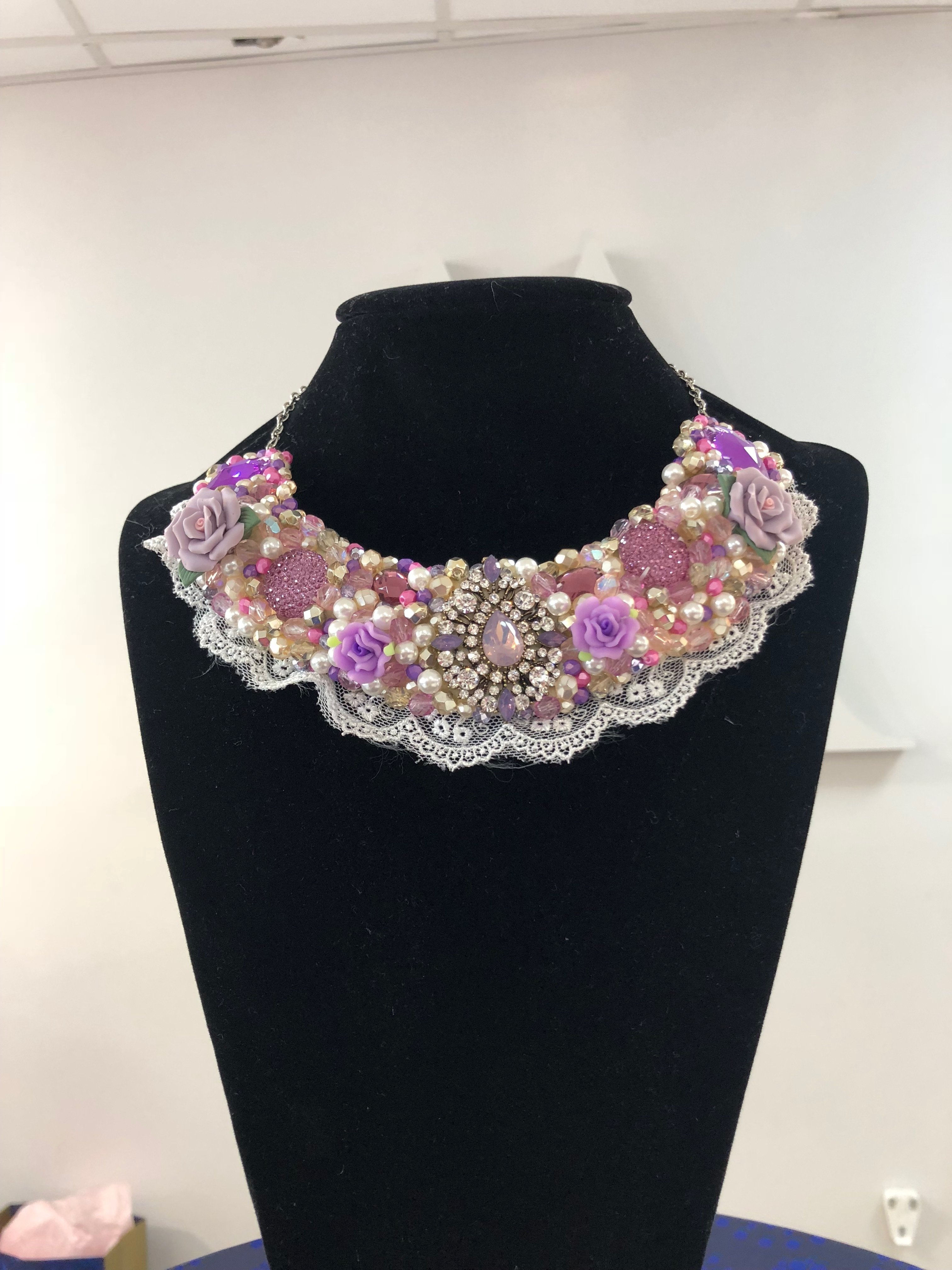 Aisling Maher Lilac, Pink, Pearl and Gold Collar C6PDNKNABT8SM