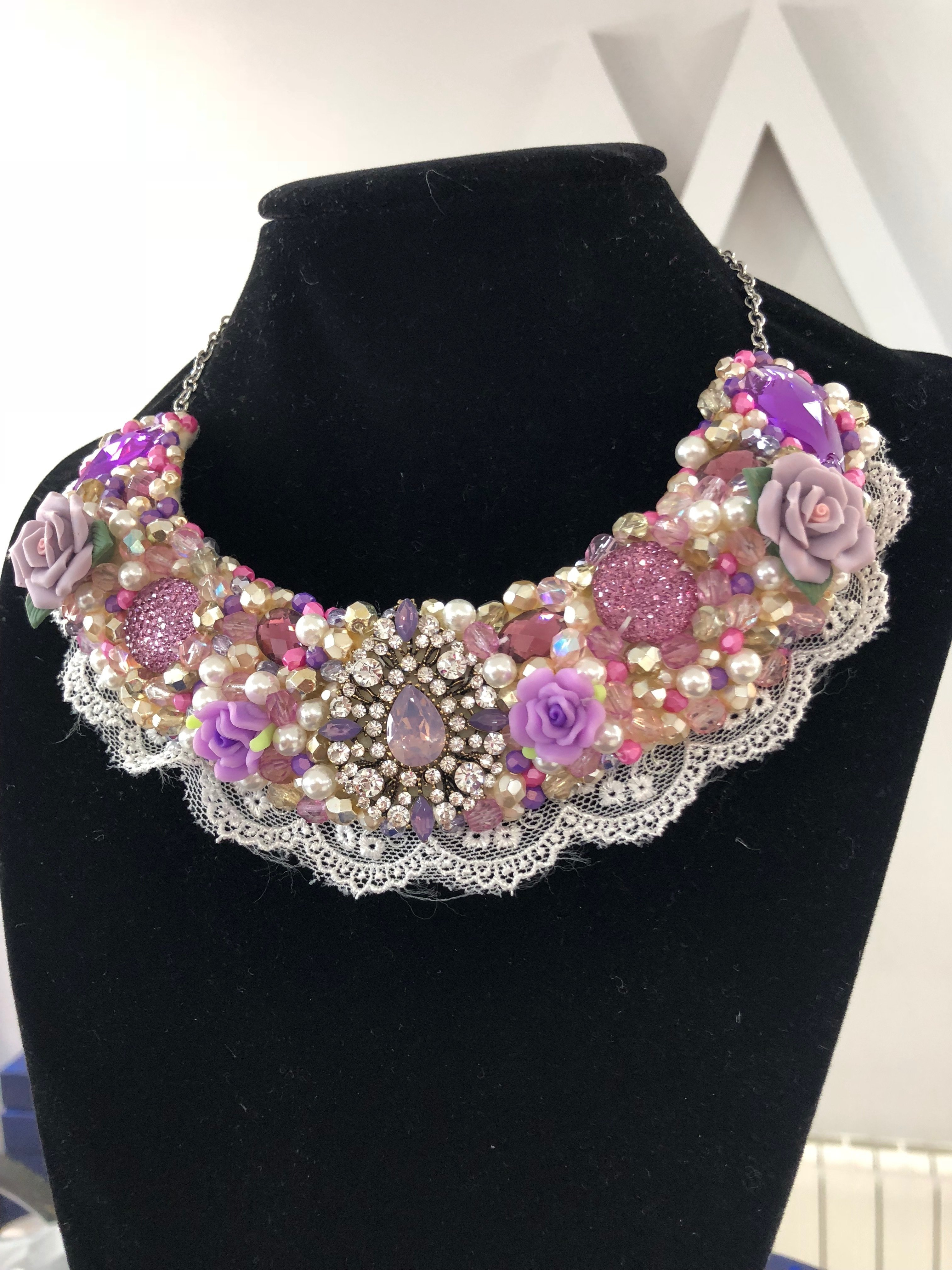 Aisling Maher Lilac, Pink, Pearl and Gold Collar