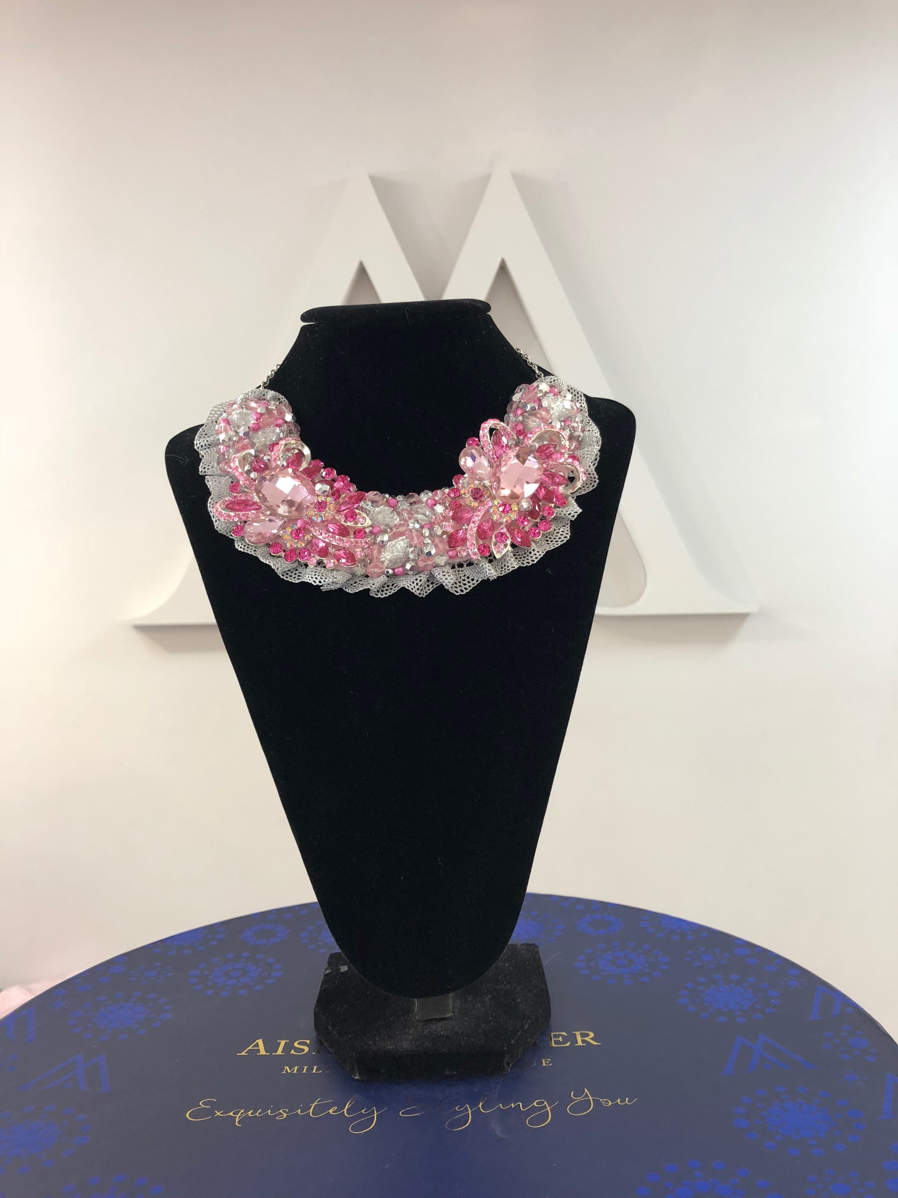 Aisling Maher Collar palepink/cerise/pearl/silver