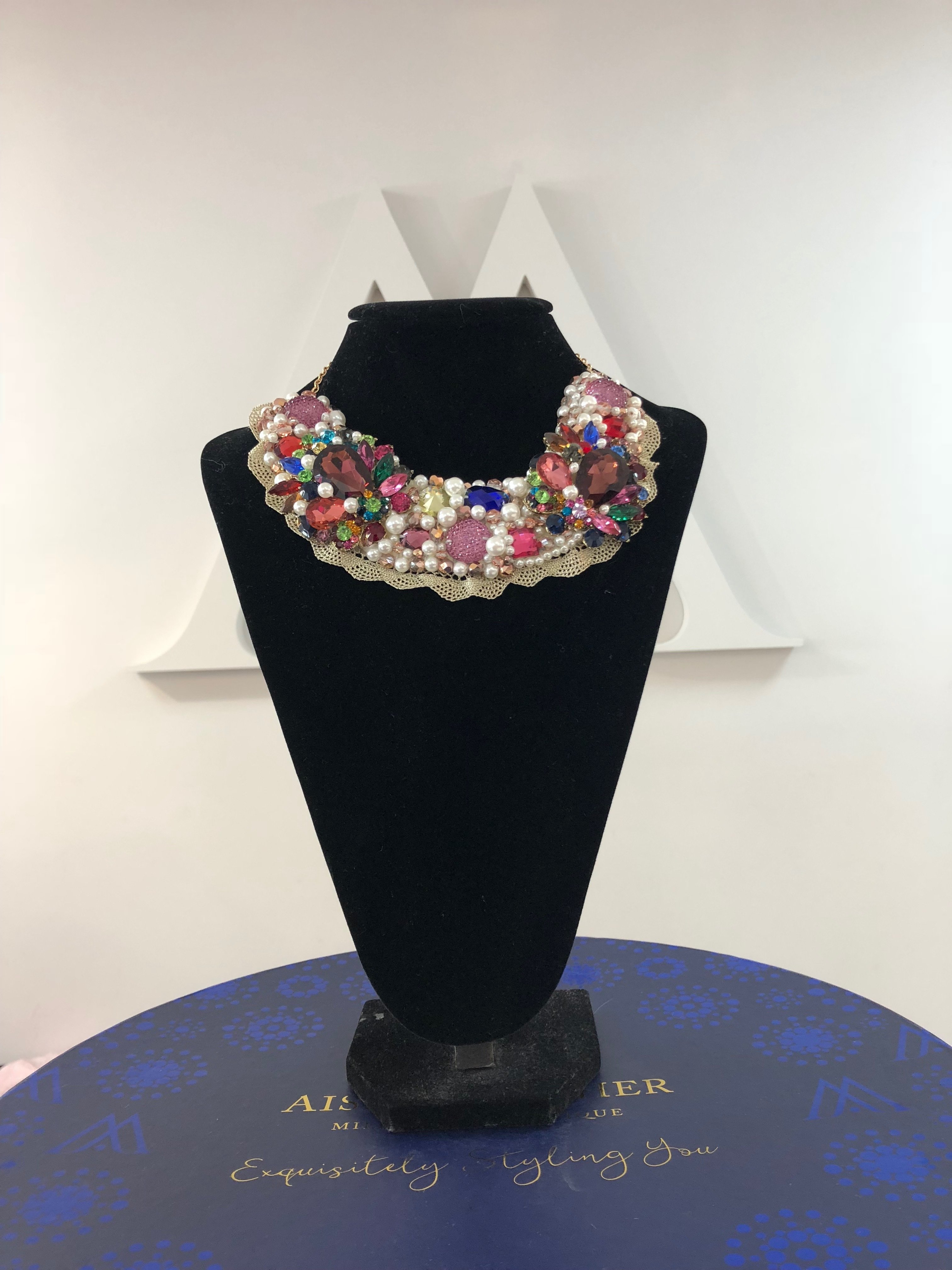 Aisling Maher Collar pearl/plum/multi