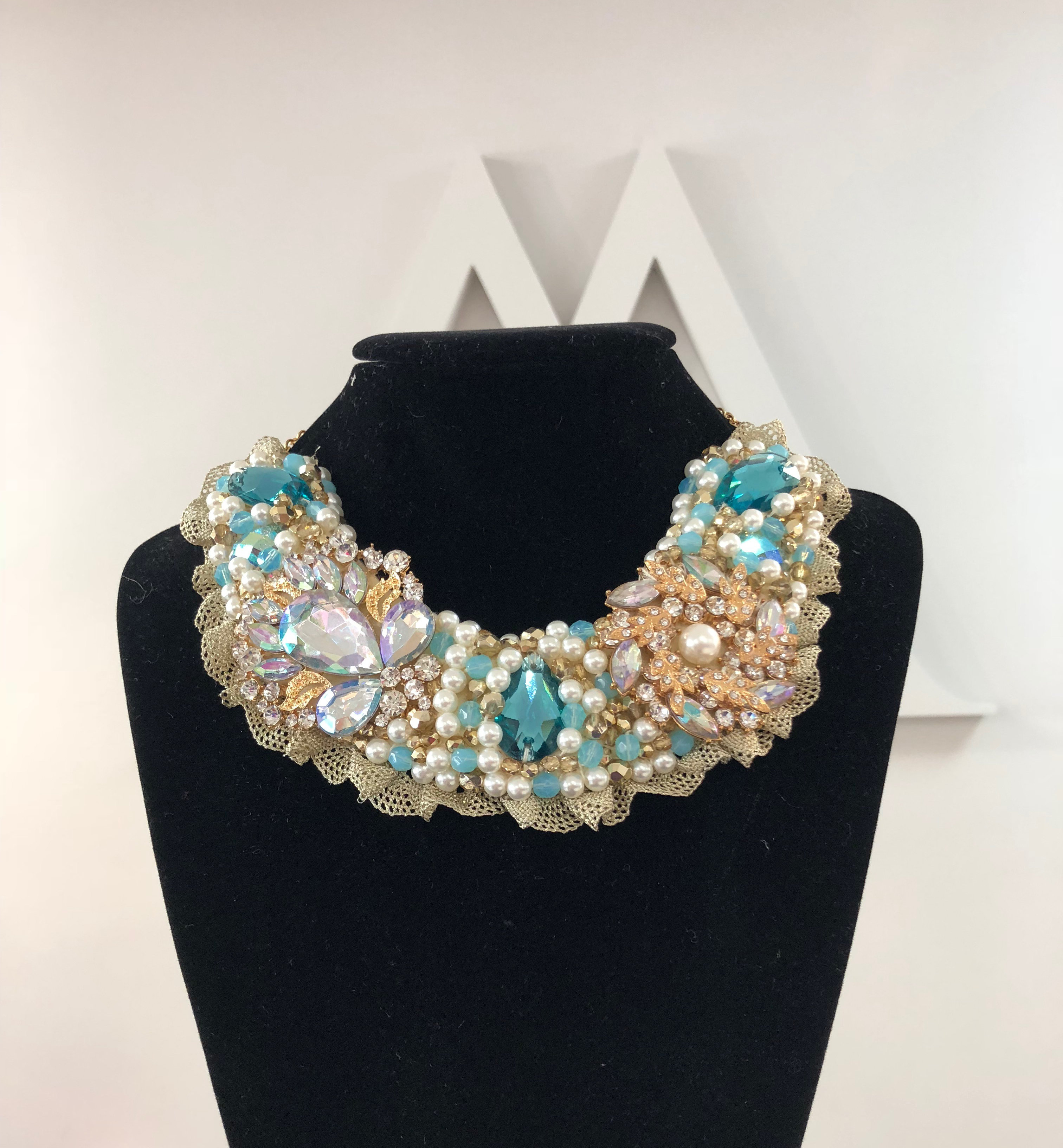 Aisling Maher Collar pearl/turquoise/bling 5TJD3JCNG5Z1T