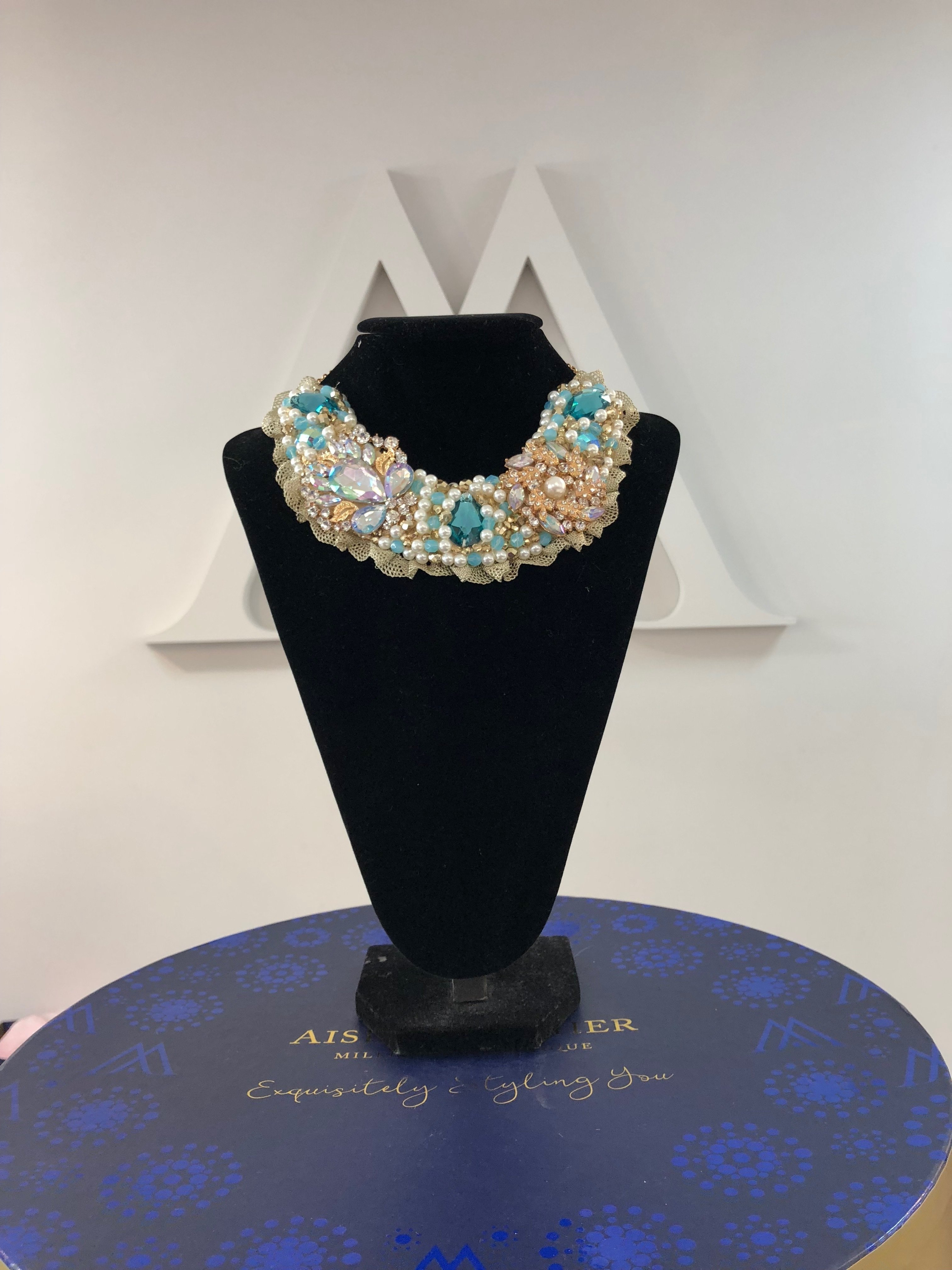 Aisling Maher Collar pearl/turquoise/bling