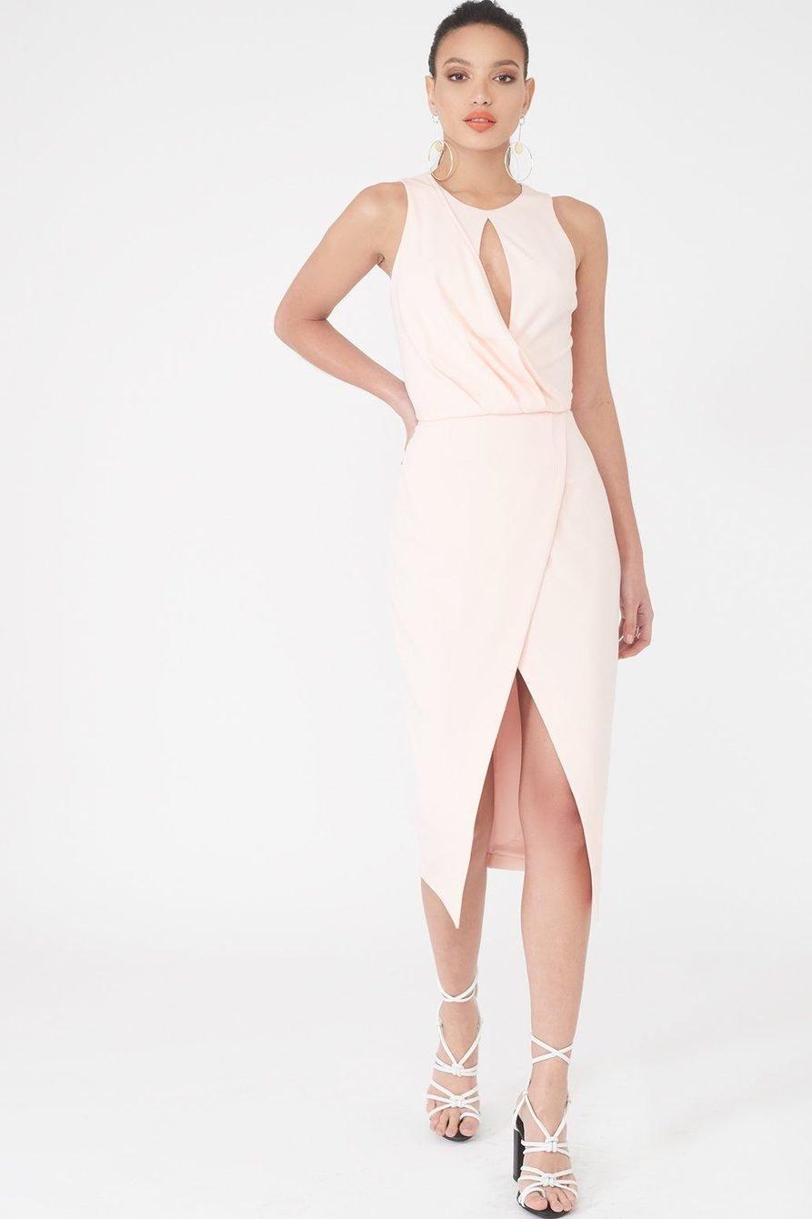Asymmetrical Wrap Dress Blush Pink LADR
