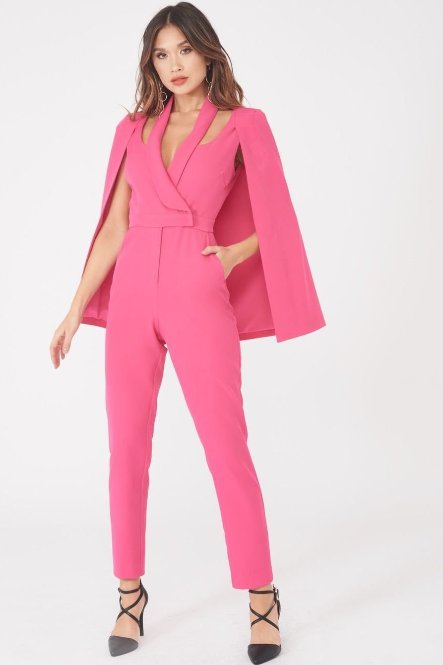 Cape Blazer Jumpsuit Pink LAJU809