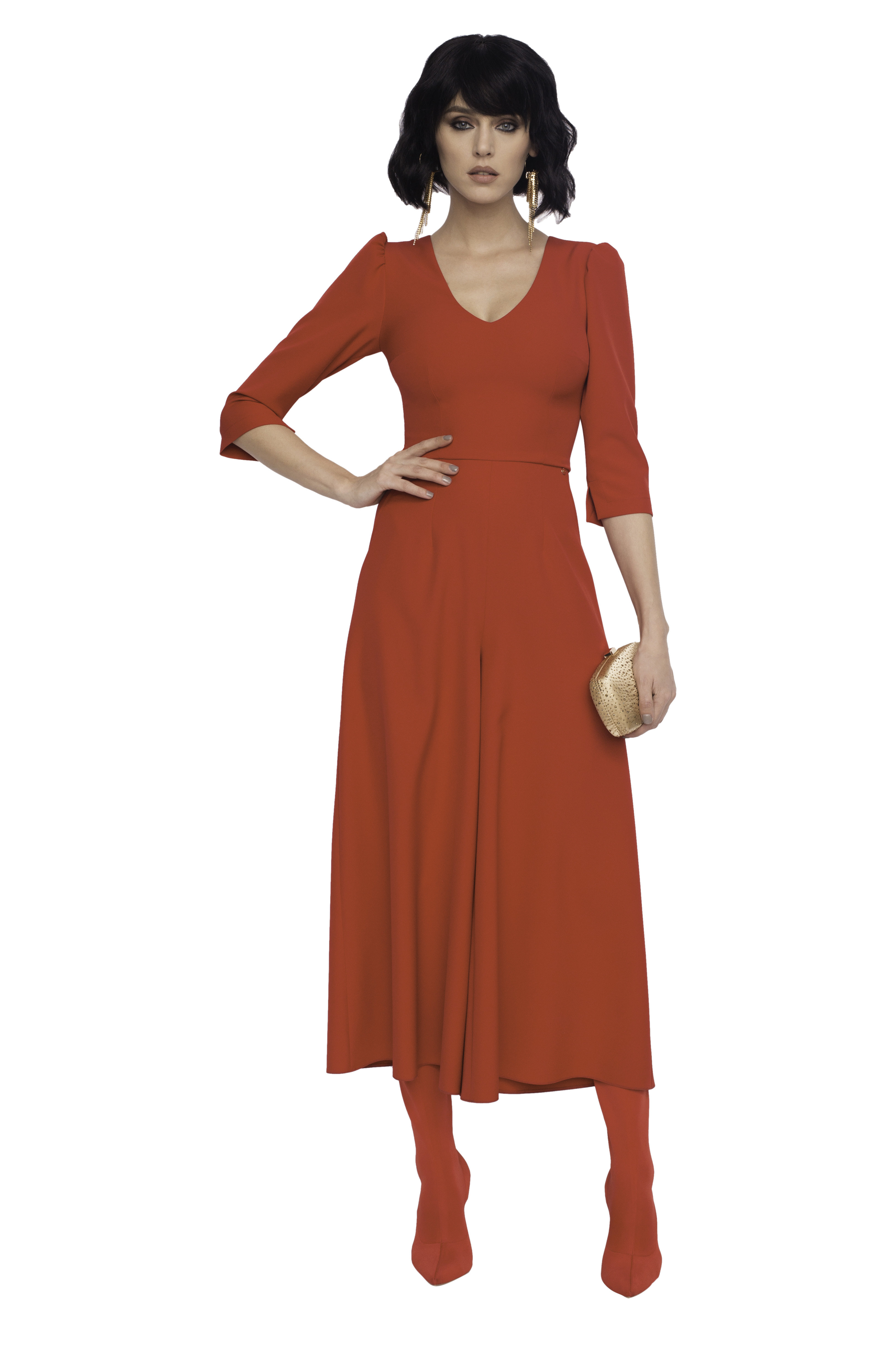 Culotte Jumpsuit with Pearls on Back Red NIJUPEARLRED
