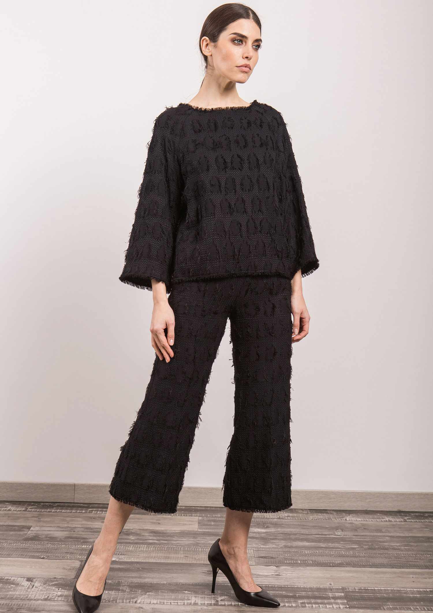 Black Textured Trouser ACTR5509