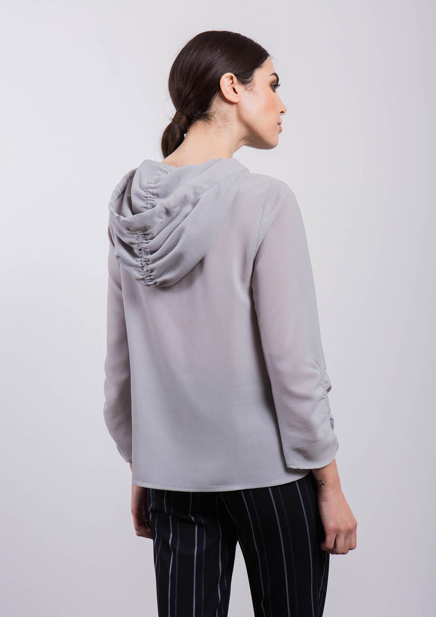 Grey Hooded Top