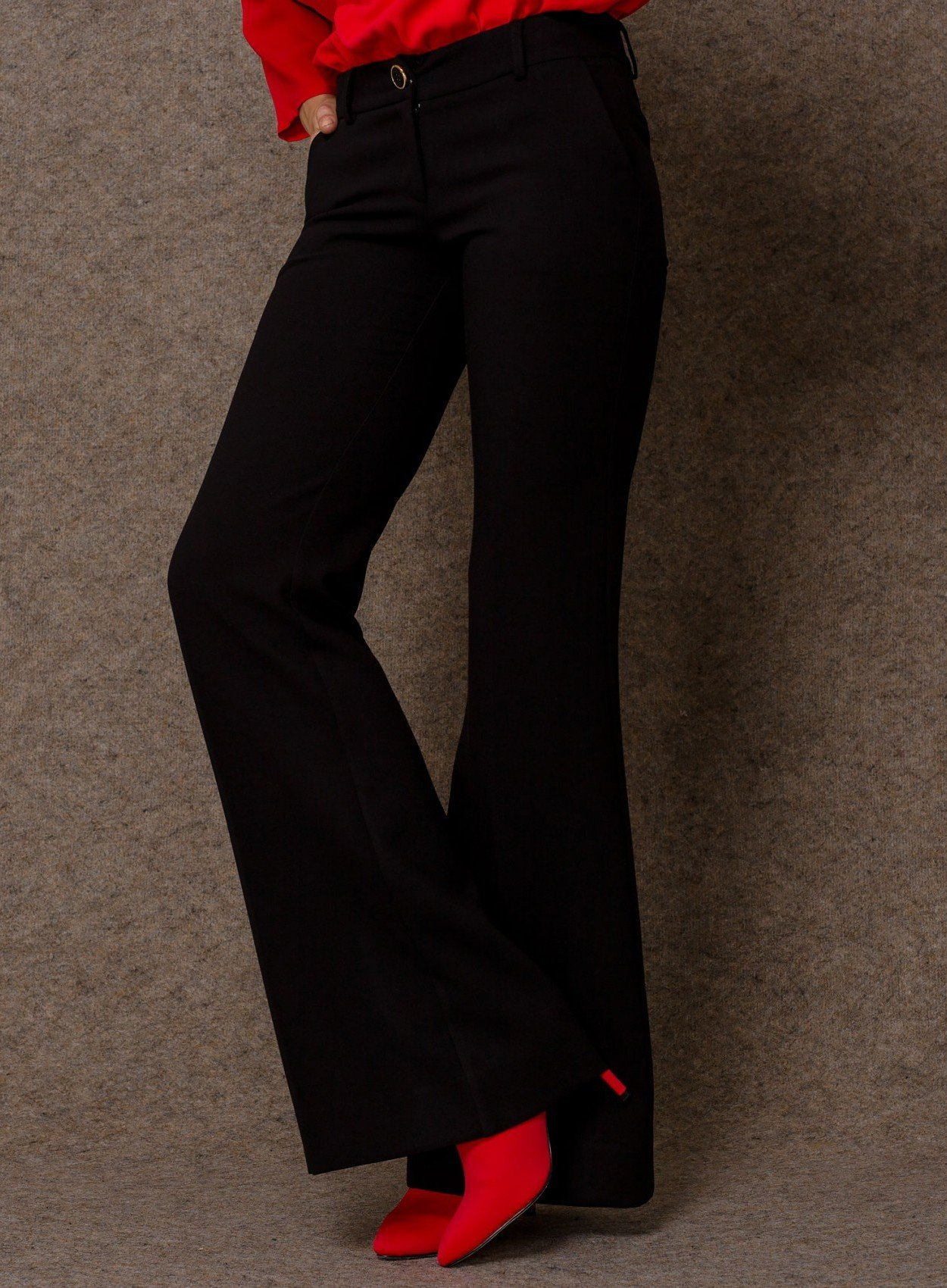 Crepe Wide Leg Trousers Black ACCTR28-5110