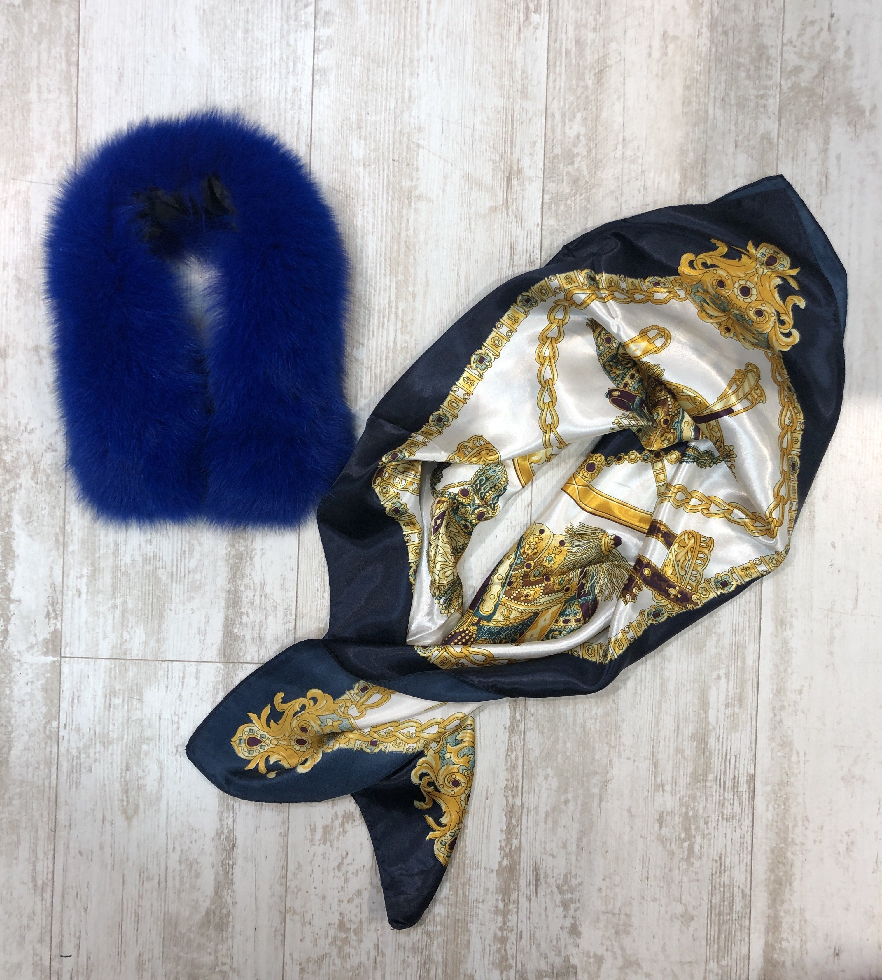 FS XA002 Fur Collar wIth Scarf royal blue one size