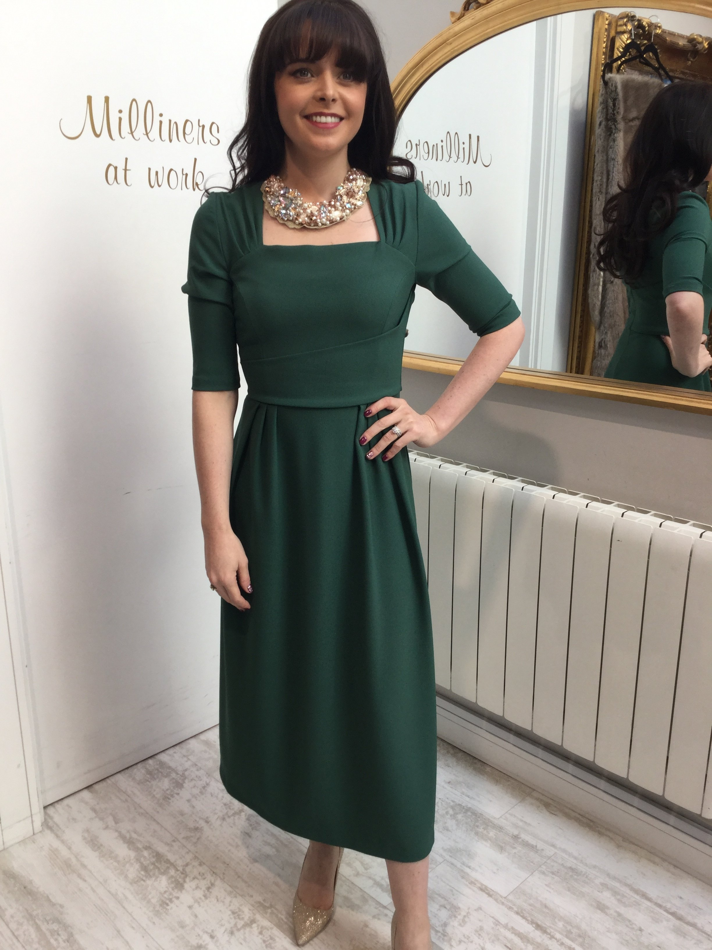 Mimi Dress in Hunter Green DIMIMIDRHG