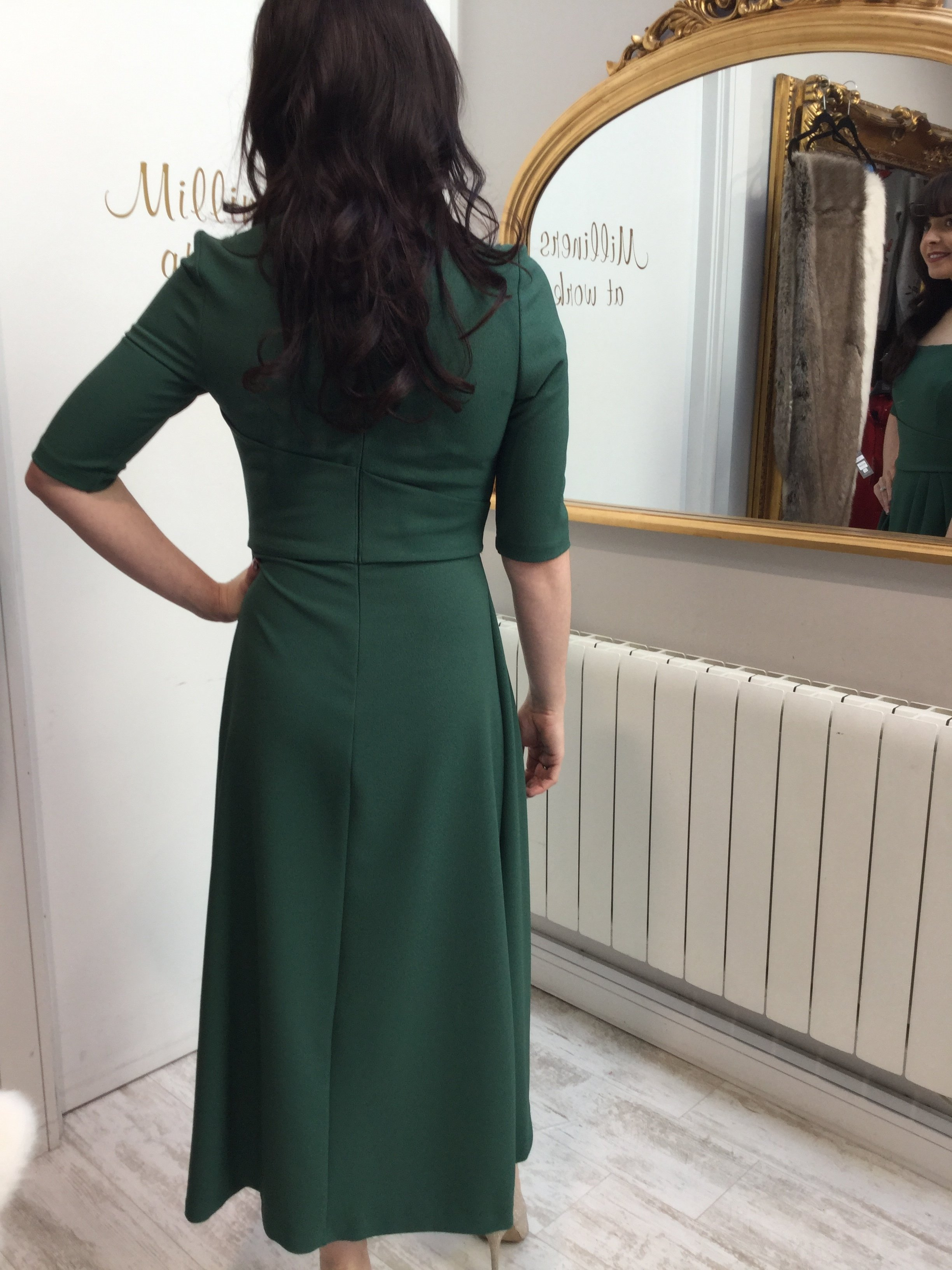 Mimi Dress in Hunter Green