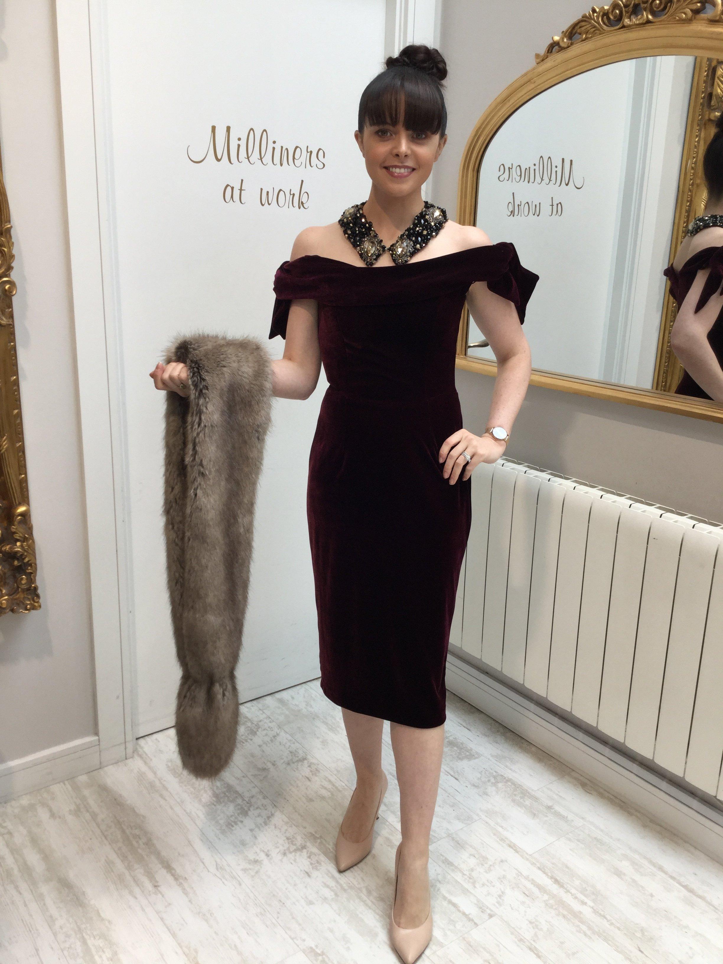 Tilly Dress in Bordeaux Velvet PDCDRTIB