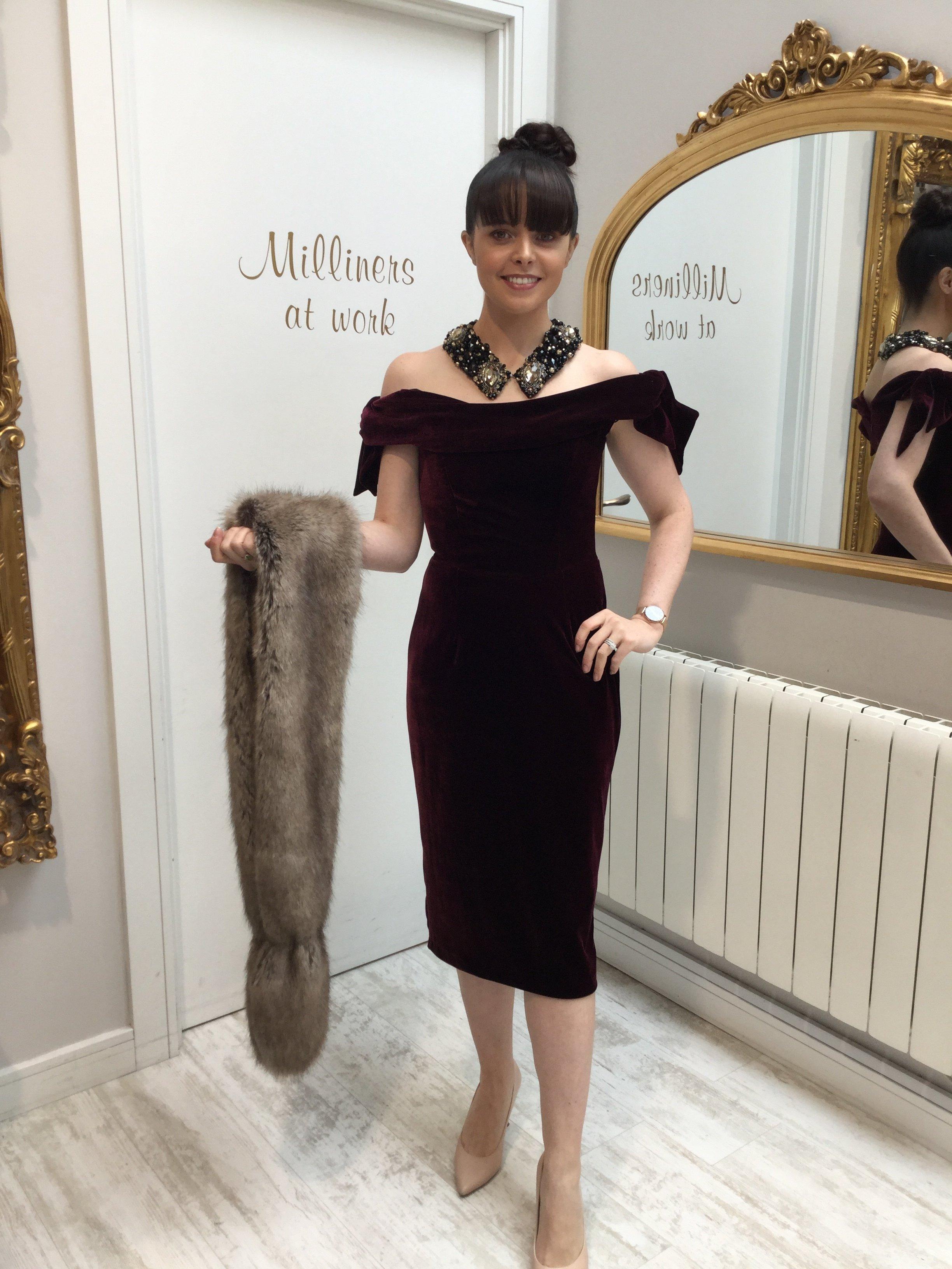 Tilly Dress in Bordeaux Velvet