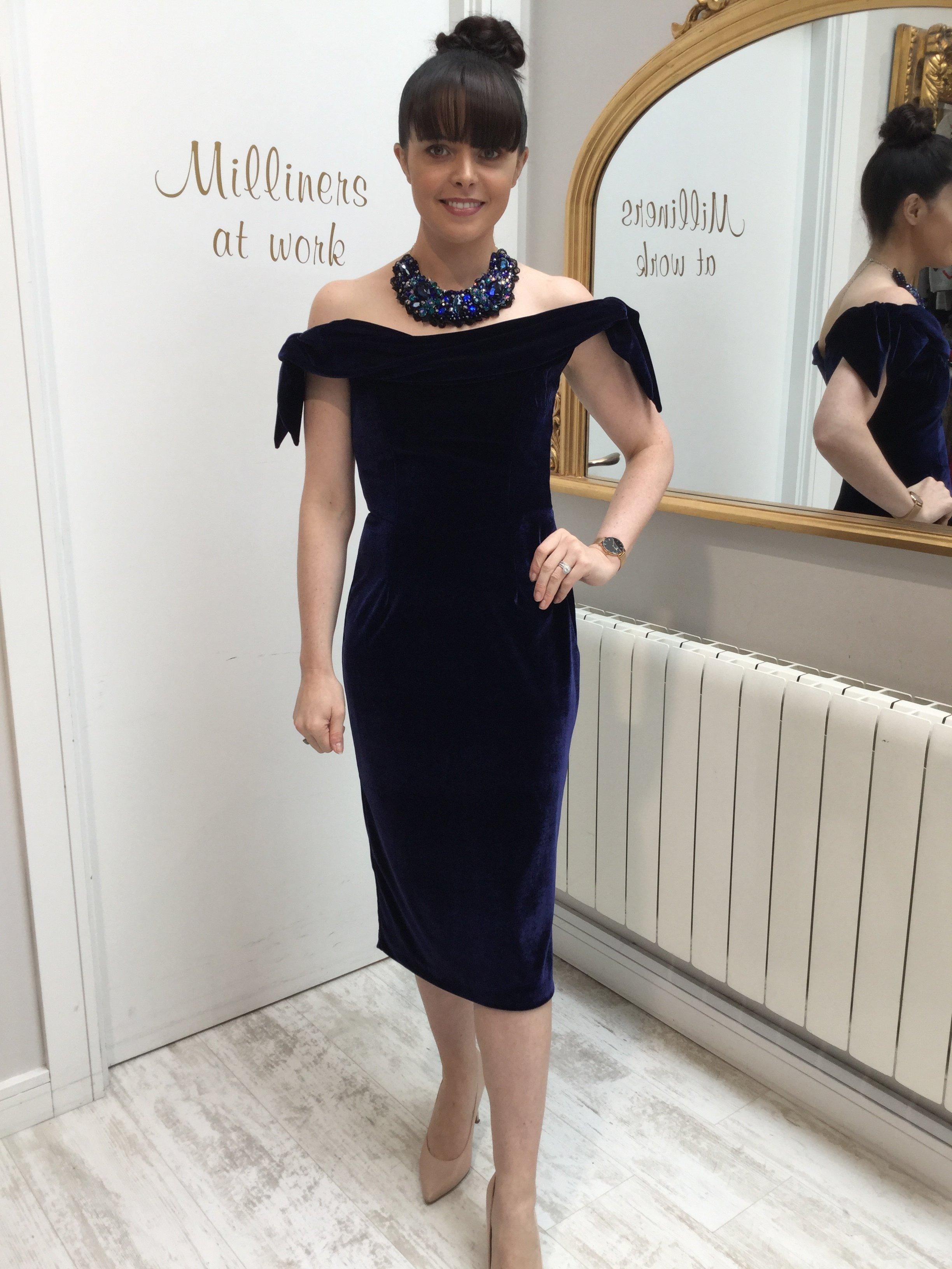 Tilly Dress in Navy Velvet PDCDRTINV