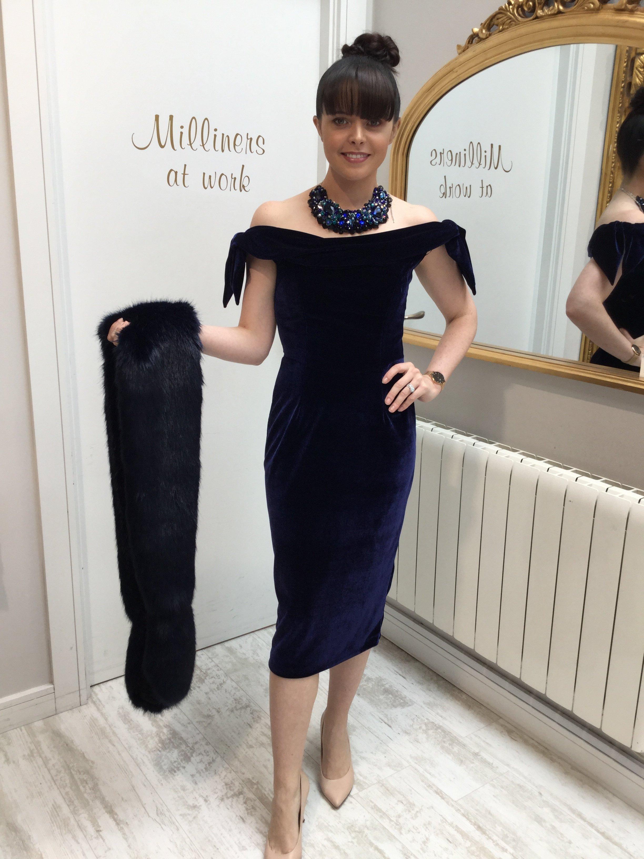 Tilly Dress in Navy Velvet